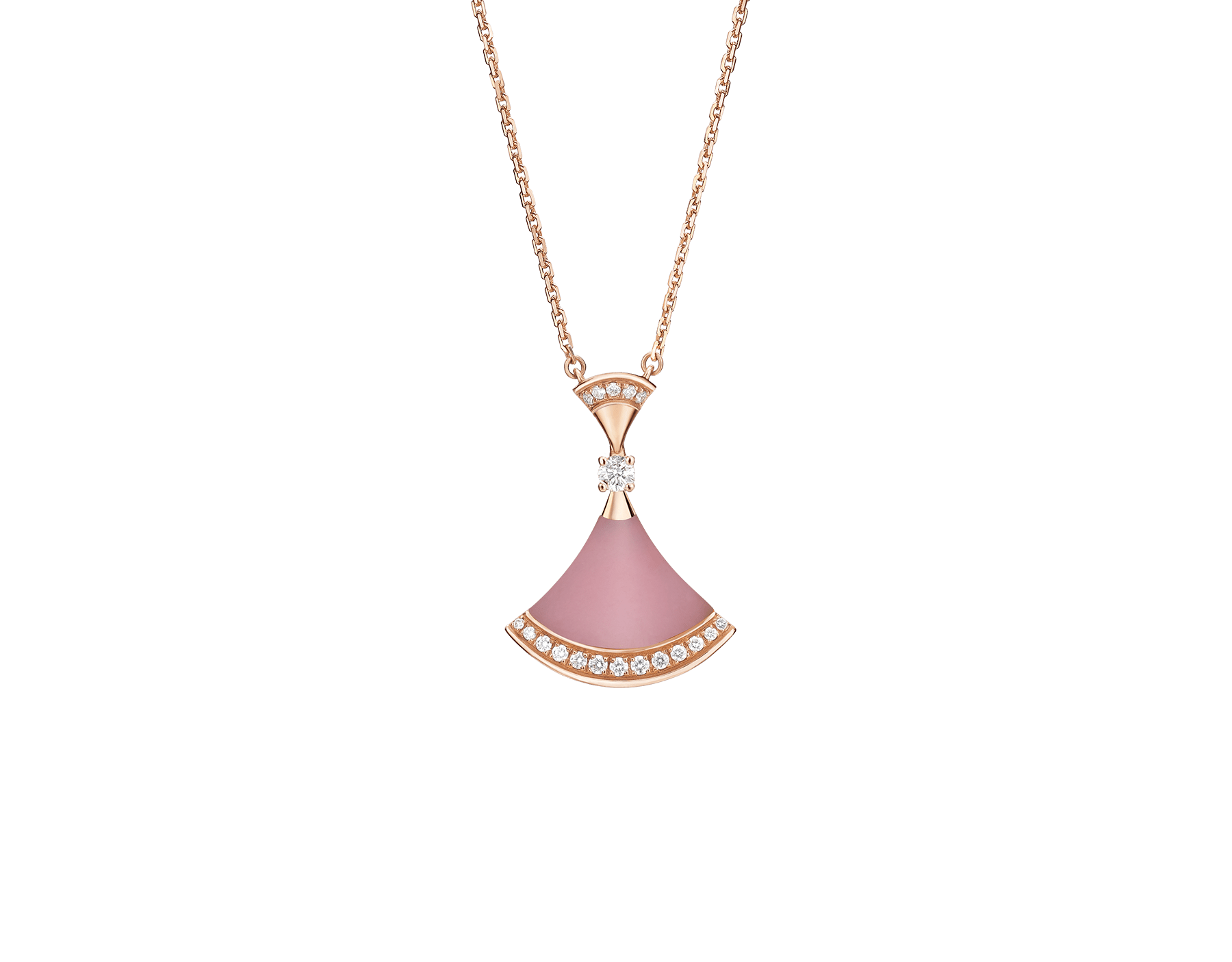 DIVAS' DREAM necklace in 18 kt rose gold, with pendant set with pink opal, a diamond (0.10 ct) and pavé diamonds (0.20 ct). 354340 image 3