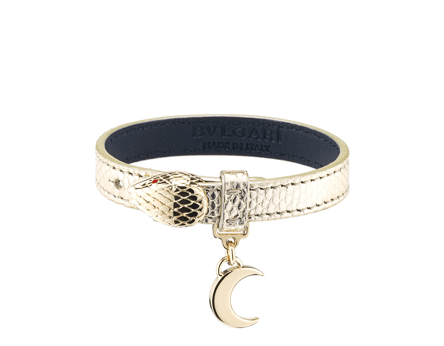 """""""Serpenti Forever"""" bracelet in """"Molten"""" gold karung skin. New Serpenti head closure in gold-plated brass, finished with red enamel eyes and a half-moon charm. BRACLT-SERPENTIU-MK image 1"""