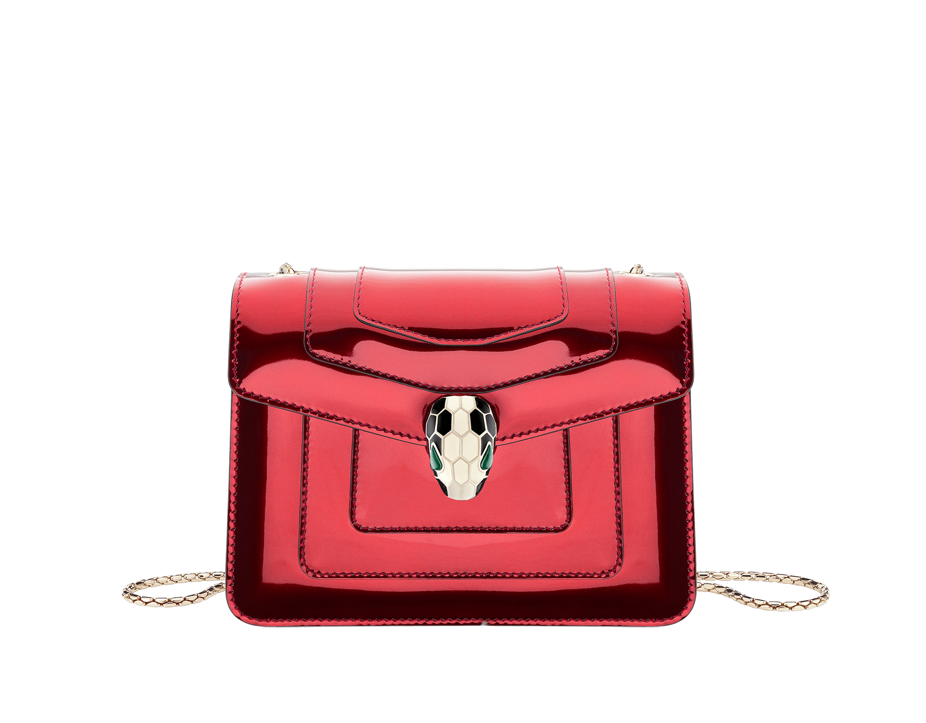 Flap cover bag Serpenti Forever in rose quartz brushed metallic calf leather. Brass light gold plated tempting snake head closure in black and white enamel, with eyes in green malachite. 422-BMCLb image 1