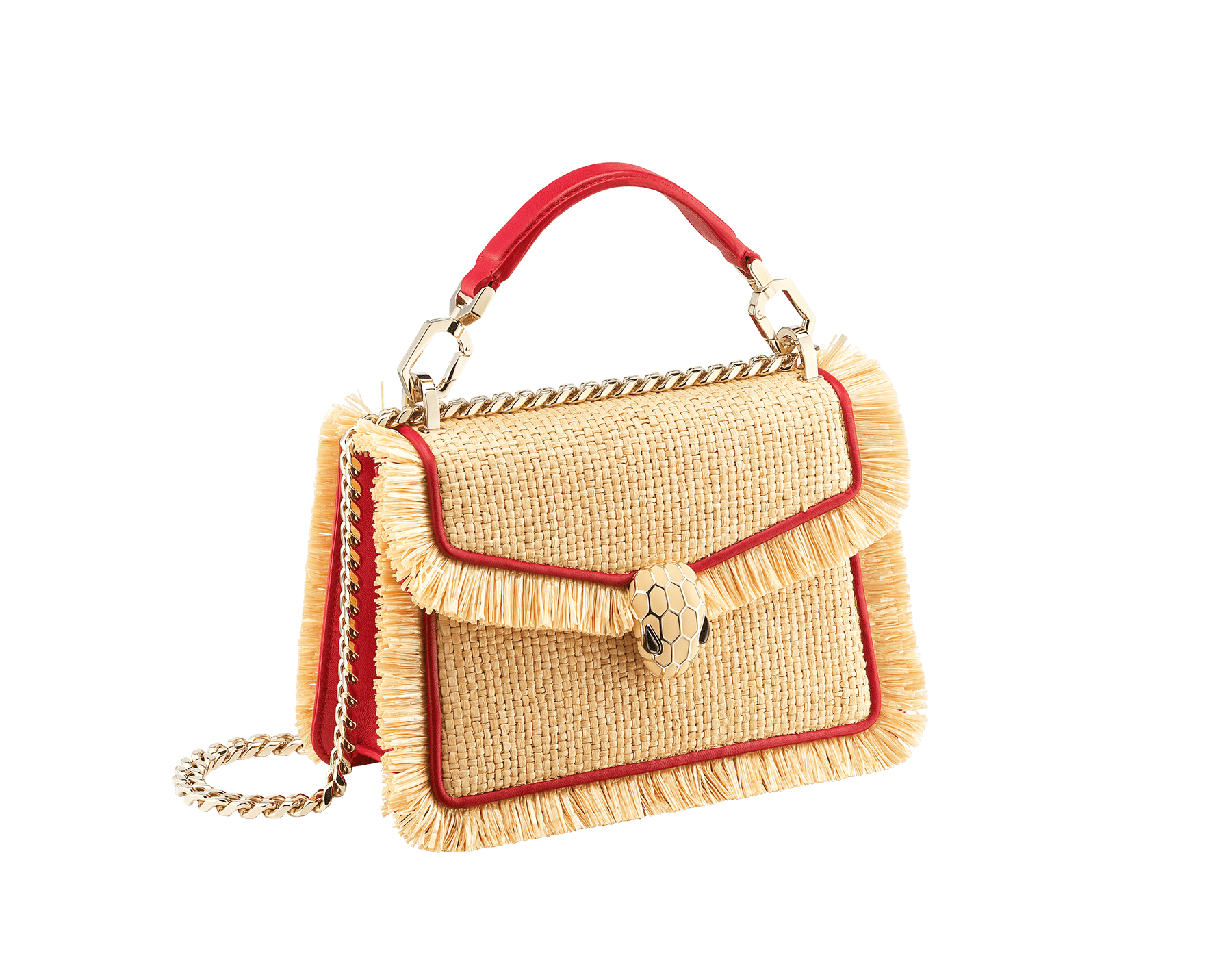 """Serpenti Diamond Blast"" crossbody bag in beige raffia and Carmine Jasper red calfskin frames finished with beige raffia fringes, and Carmine Jasper red nappa leather internal lining. Alluring snakehead closure in light gold-plated brass, enhanced with full matte Natural beige enamel and black onyx eyes. 290906 image 2"