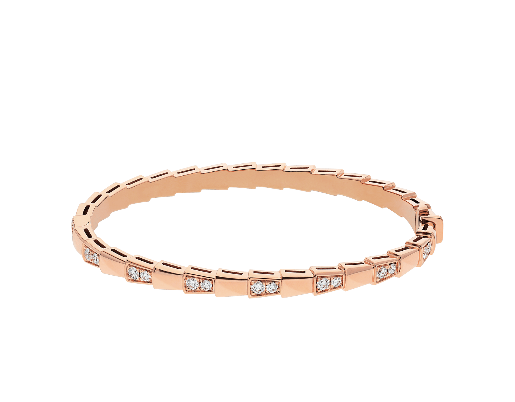 Serpenti Viper 18 kt rose gold bracelet set with demi-pavé diamonds. (width 4 mm) BR858319 image 2