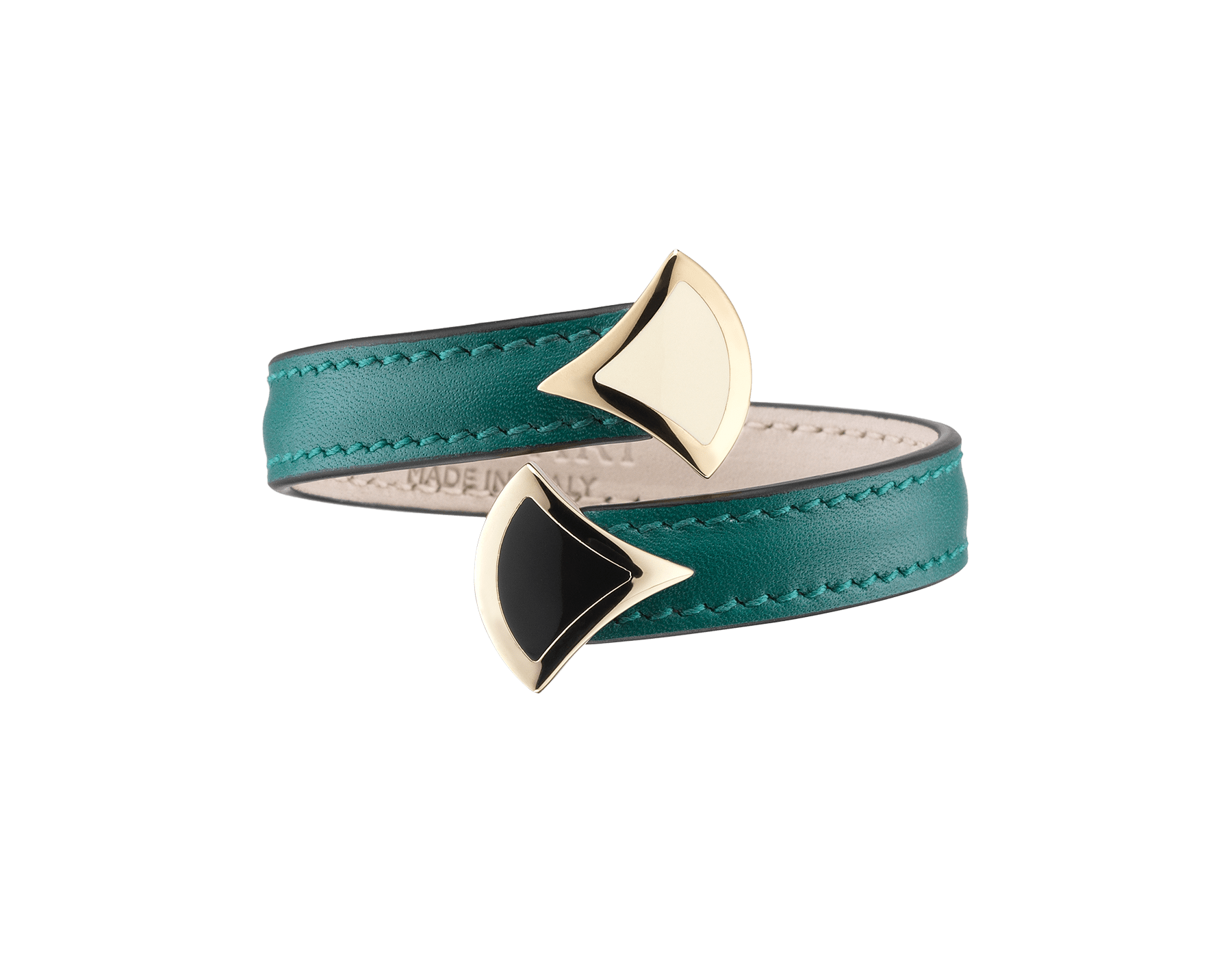 DIVAS' DREAM soft bangle bracelet in emerald green smooth calf leather, with brass light gold plated DIVAS' DREAM motif in black and white enamel 287510 image 1