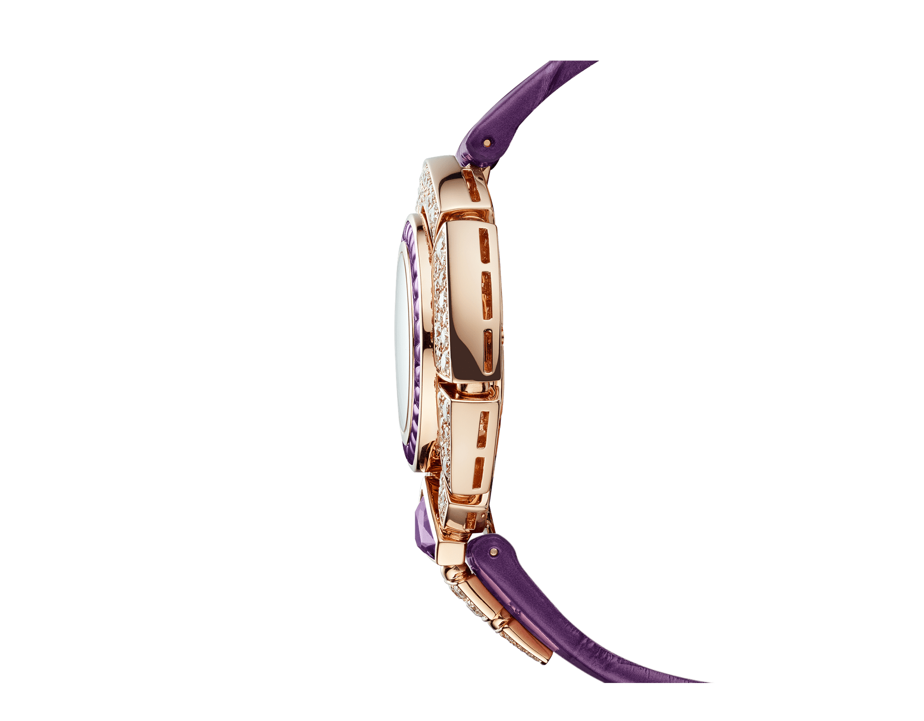 Serpenti Incantati watch with 18 kt rose gold case set with round brilliant-cut diamonds and a fancy-shaped amethyst, 18 kt rose gold bezel set with buff-cut amethysts, snow pavé dial and purple alligator bracelet 103125 image 3