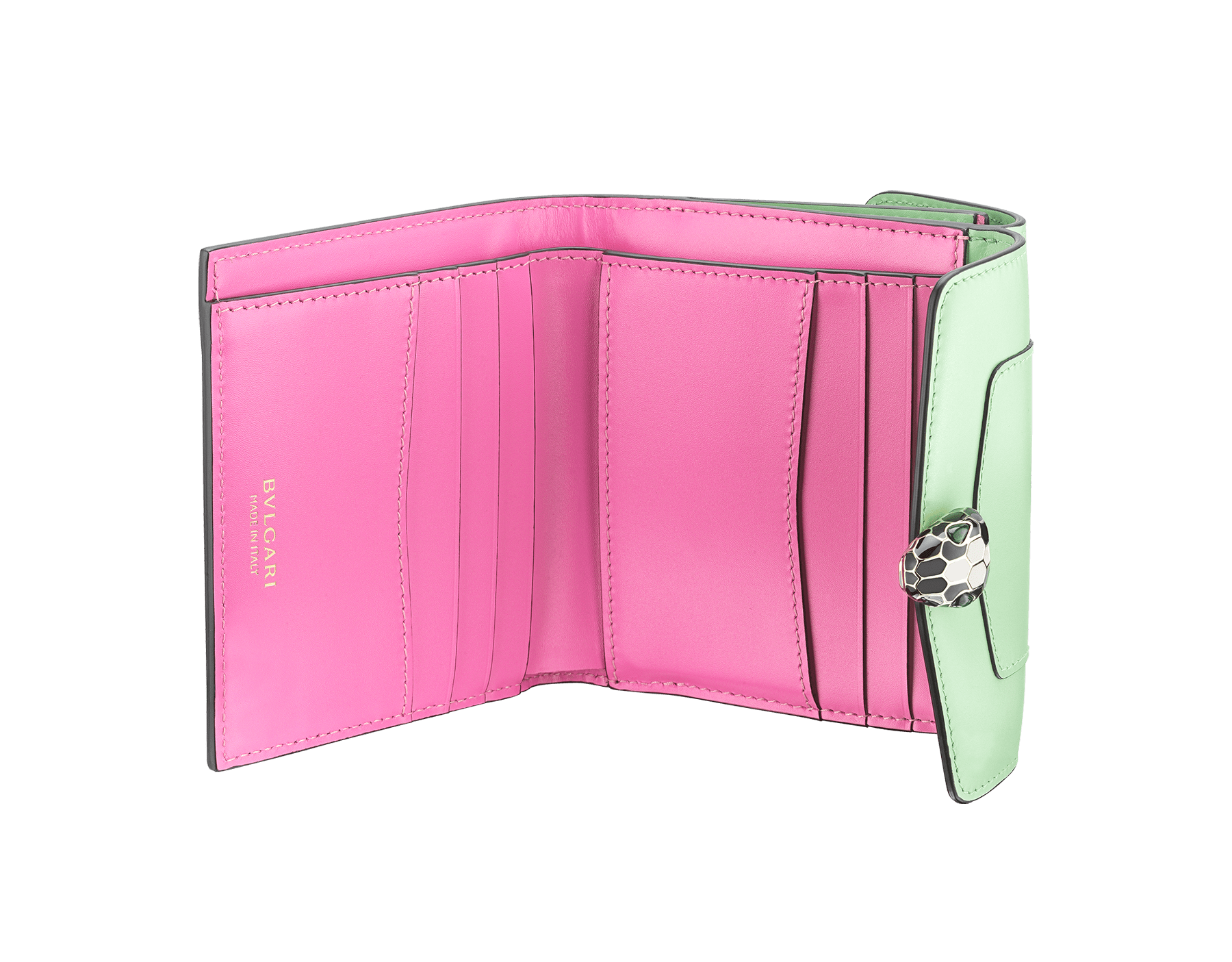 """Serpenti Forever"" square compact wallet in mint and taffy quartz calf leather. Iconic snakehead stud closure in black and white agate enamel, with green malachite eyes. SEA-WLT-COMPACT-3Fc image 2"