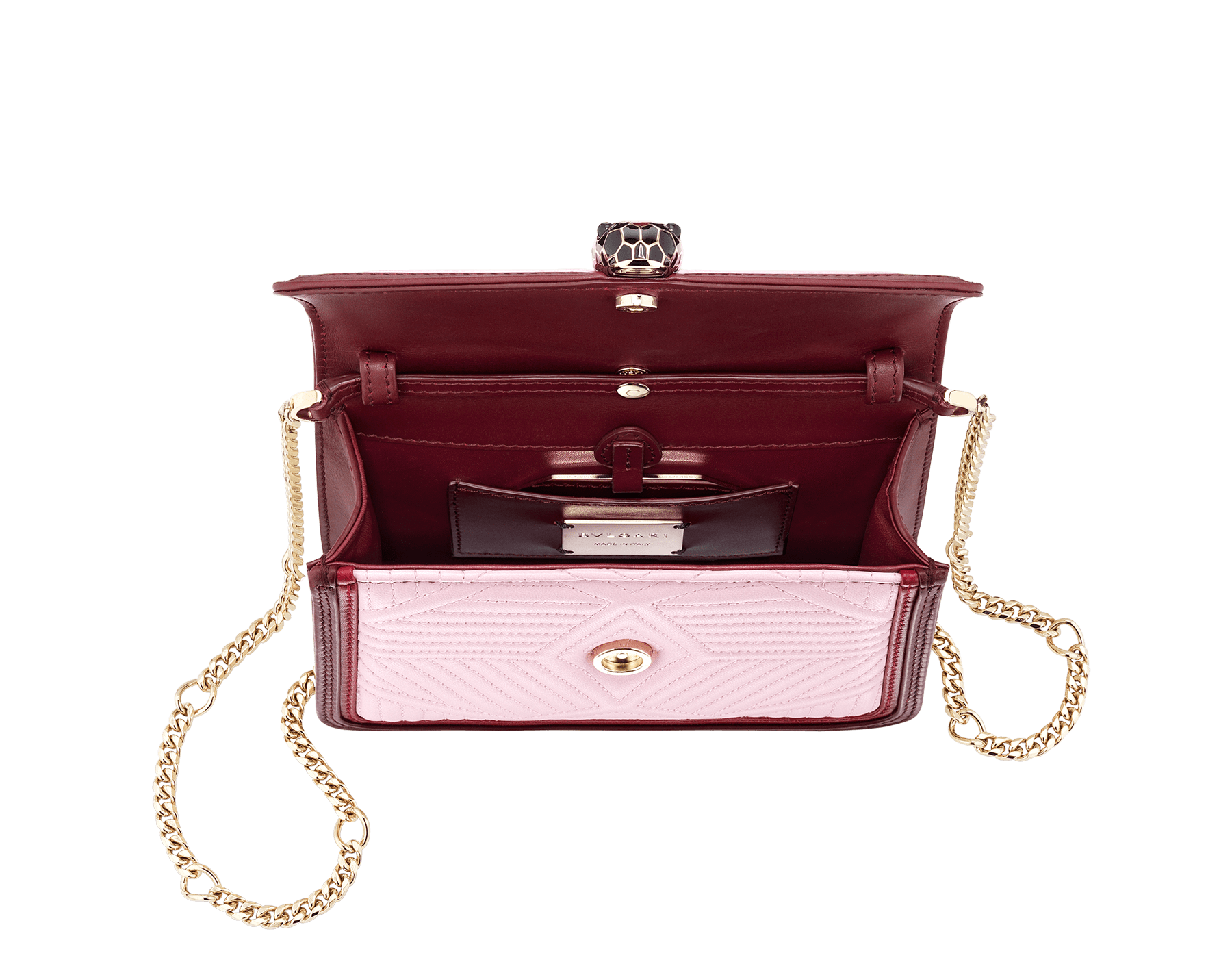 """Serpenti Diamond Blast"" crossbody micro bag in rosa di francia quilted nappa leather body and Roman garnet calf leather frames. Iconic snakehead closure in light gold plated brass enriched with black and ruby red enamel and black onyx eyes. 288844 image 4"