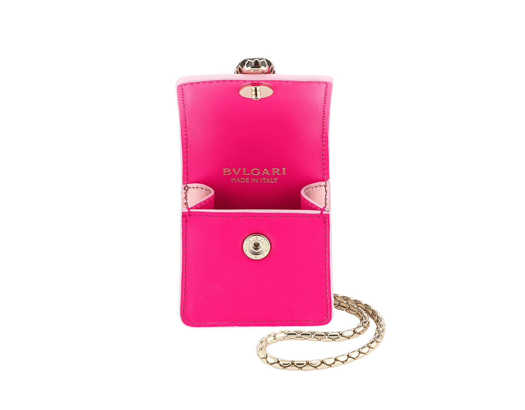 Serpenti Forever Holiday Edition AirPods holder in flash amethyst calf leather and rose quartz brushed metallic calf leather. Snakehead closure in light gold plated brass embellished with black and sakura pink enamel, and black onyx eyes. 289480 image 2