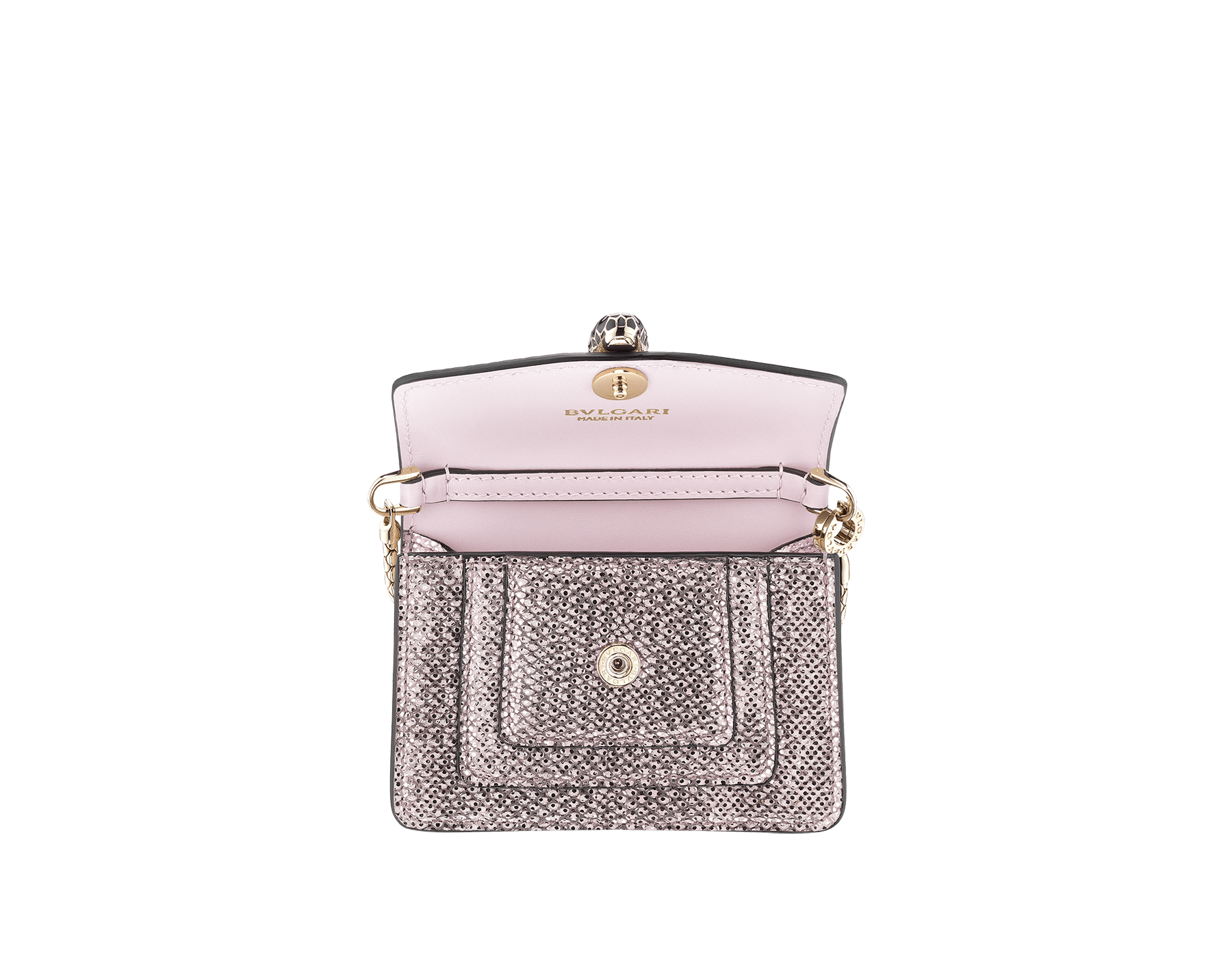 Serpenti Forever miniature bag charm in rosa di francia metallic karung skin, with black calf leather lining. Iconic brass light gold plated snakehead press stud closure enamelled in black and glitter rosa di francia, finished with black enamel eyes. 289067 image 2