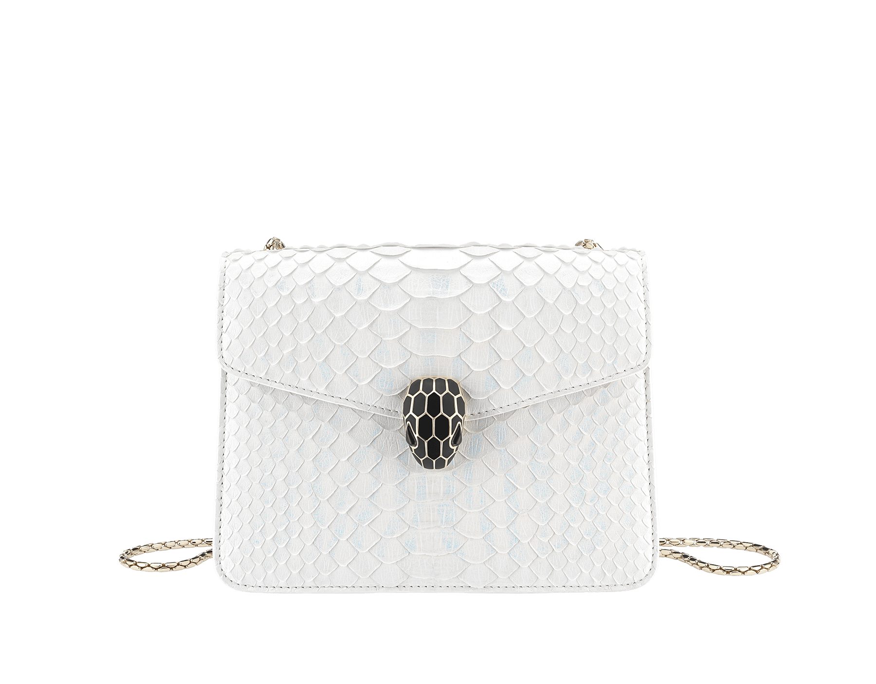"""Serpenti Forever"" crossbody bag in white agate python skin with an iridescent finishing. Iconic snake head closure in light gold plated brass enriched with matte and shiny black enamel, and black onyx eyes. 422-Pa image 1"