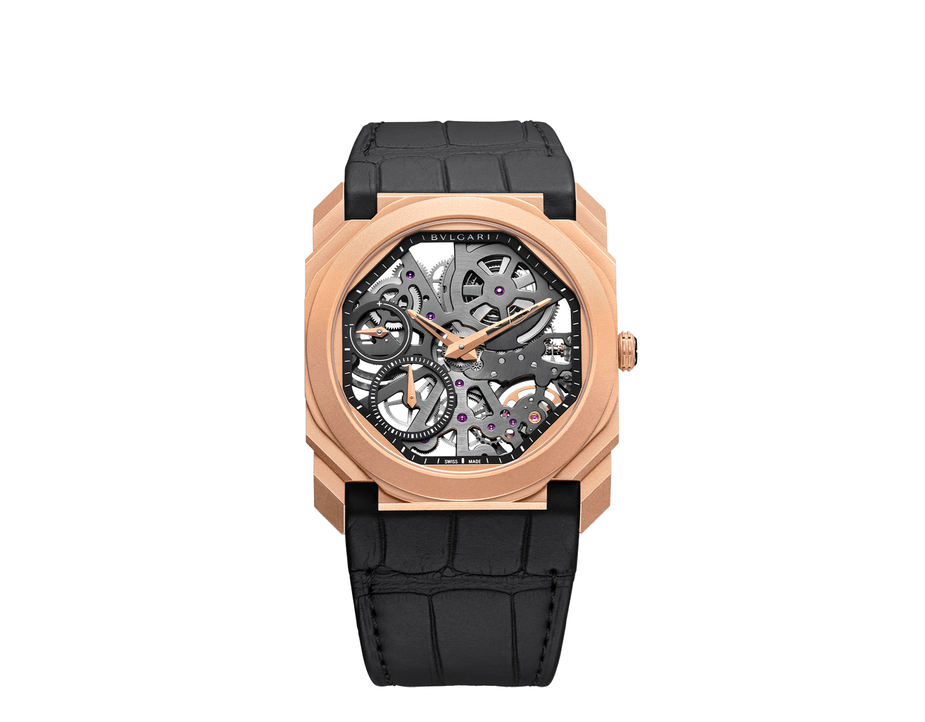 Octo Finissimo Skeleton watch with mechanical skeletonized manufacture movement, manual winding, small seconds, power reserve indication, extra-thin 18 kt sandblasted rose gold case, skeletonized dial and black alligator bracelet 102946 image 1