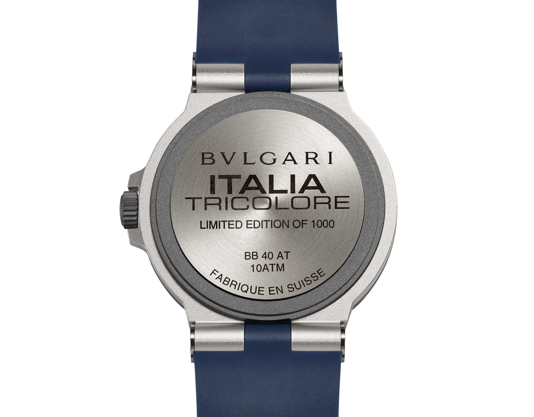 Bvlgari Aluminium Tricolore watch with mechanical movement, automatic winding and date, 40 mm aluminium and titanium case, blue rubber bezel with BVLGARI BVLGARI engraving, warm grey dial with special TRICOLORE logo, and blue rubber bracelet. Water-resistant up to 100 metres. Limited Edition 103514 image 4
