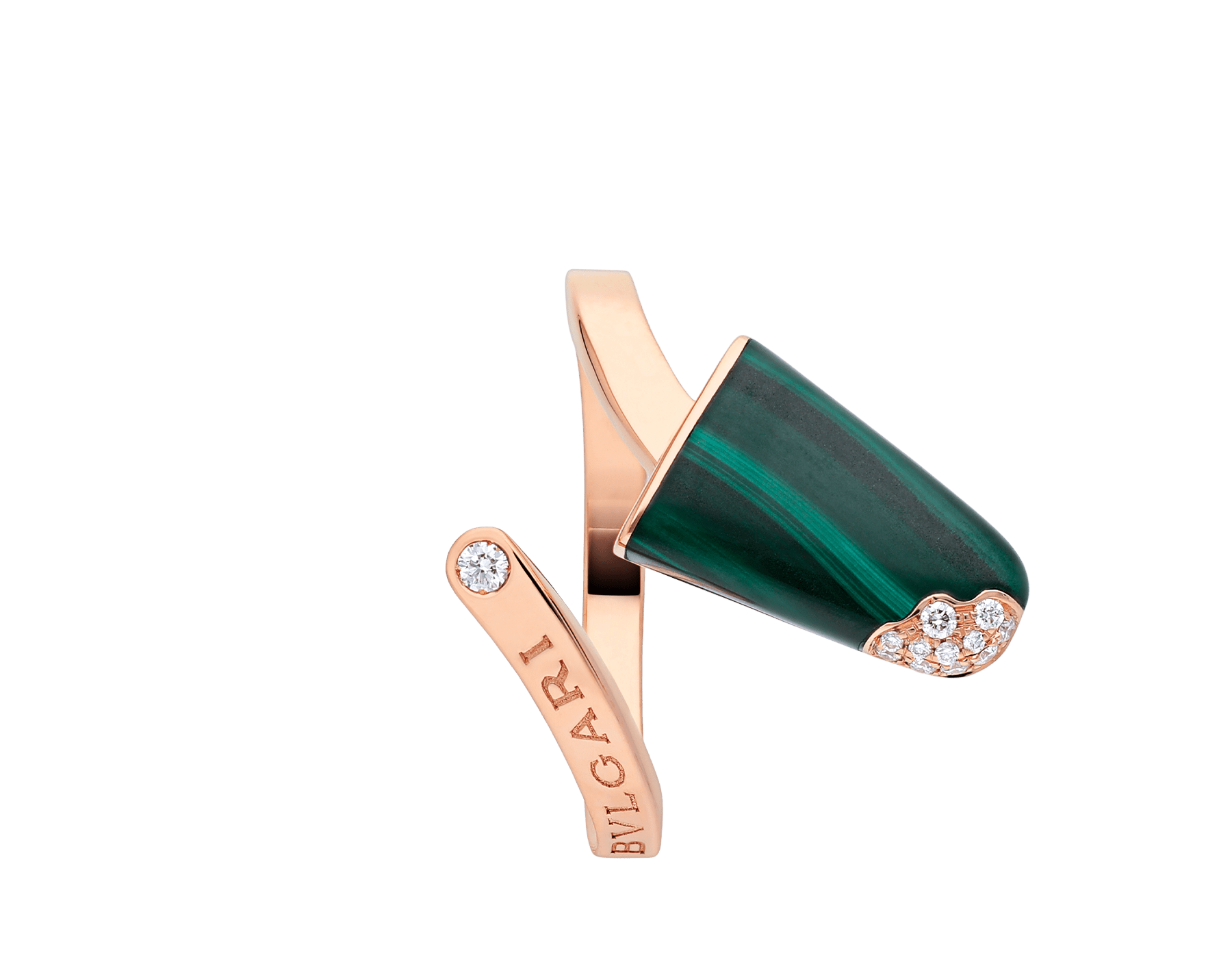 BVLGARI BVLGARI Gelati 18 kt rose gold ring set with malachite and pavé diamonds AN858329 image 3