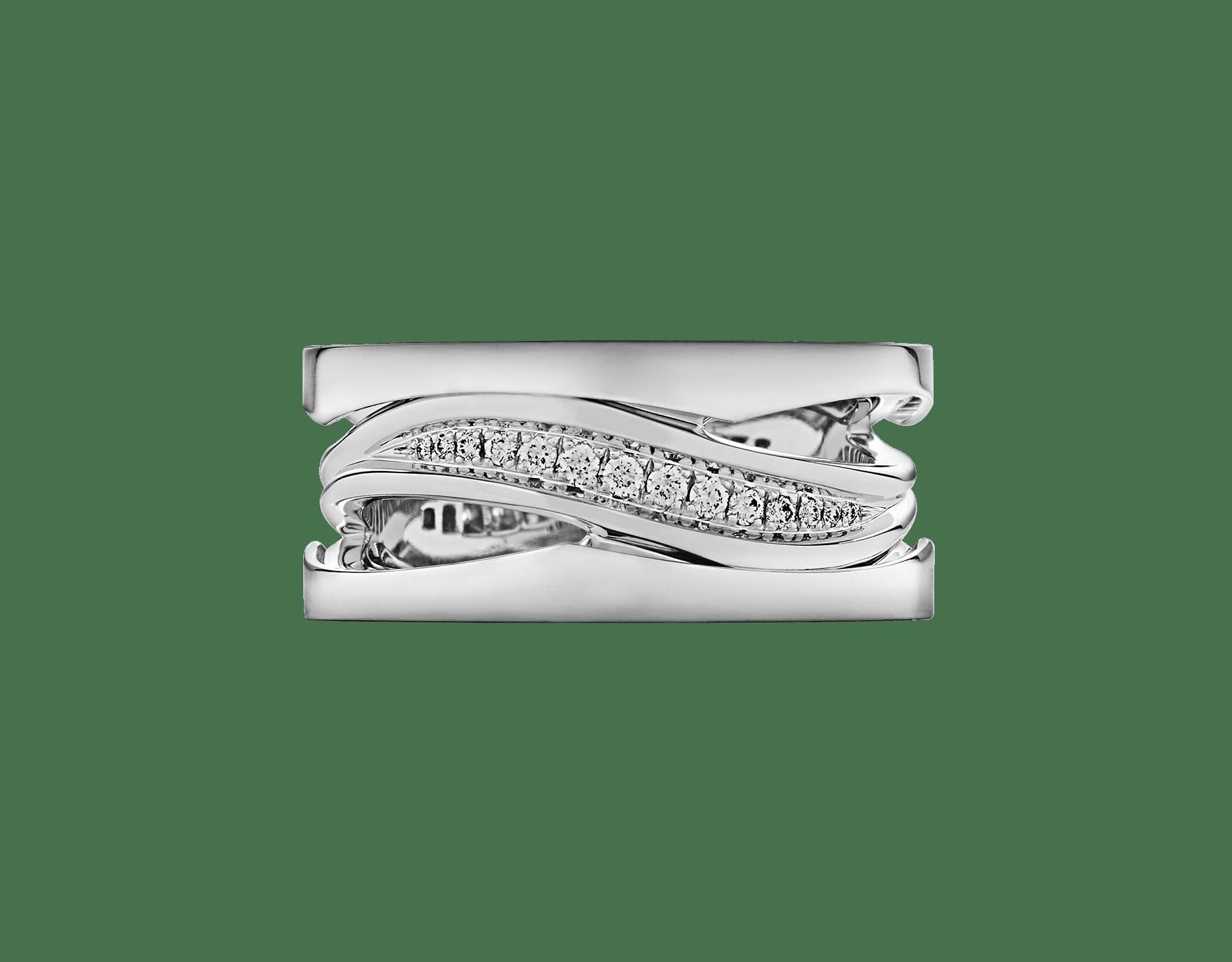 خاتم «بي.زيرو1 ديزاين ليدجند» من الذهب الأبيض عيار 18 قيراطاً، مرصع بألماس مرصوف على الجزء اللولبي. AN858378 image 3