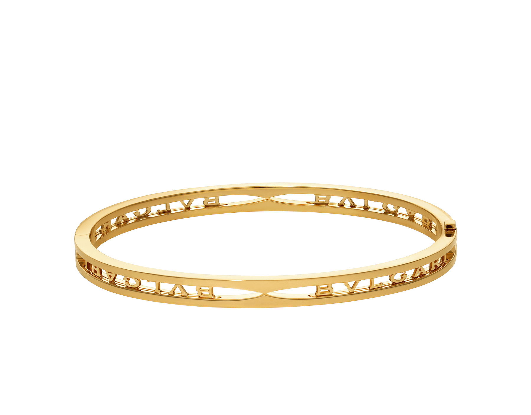 B.zero1 18 kt yellow gold bangle bracelet with BVLGARI logo on the spiral BR858724 image 2