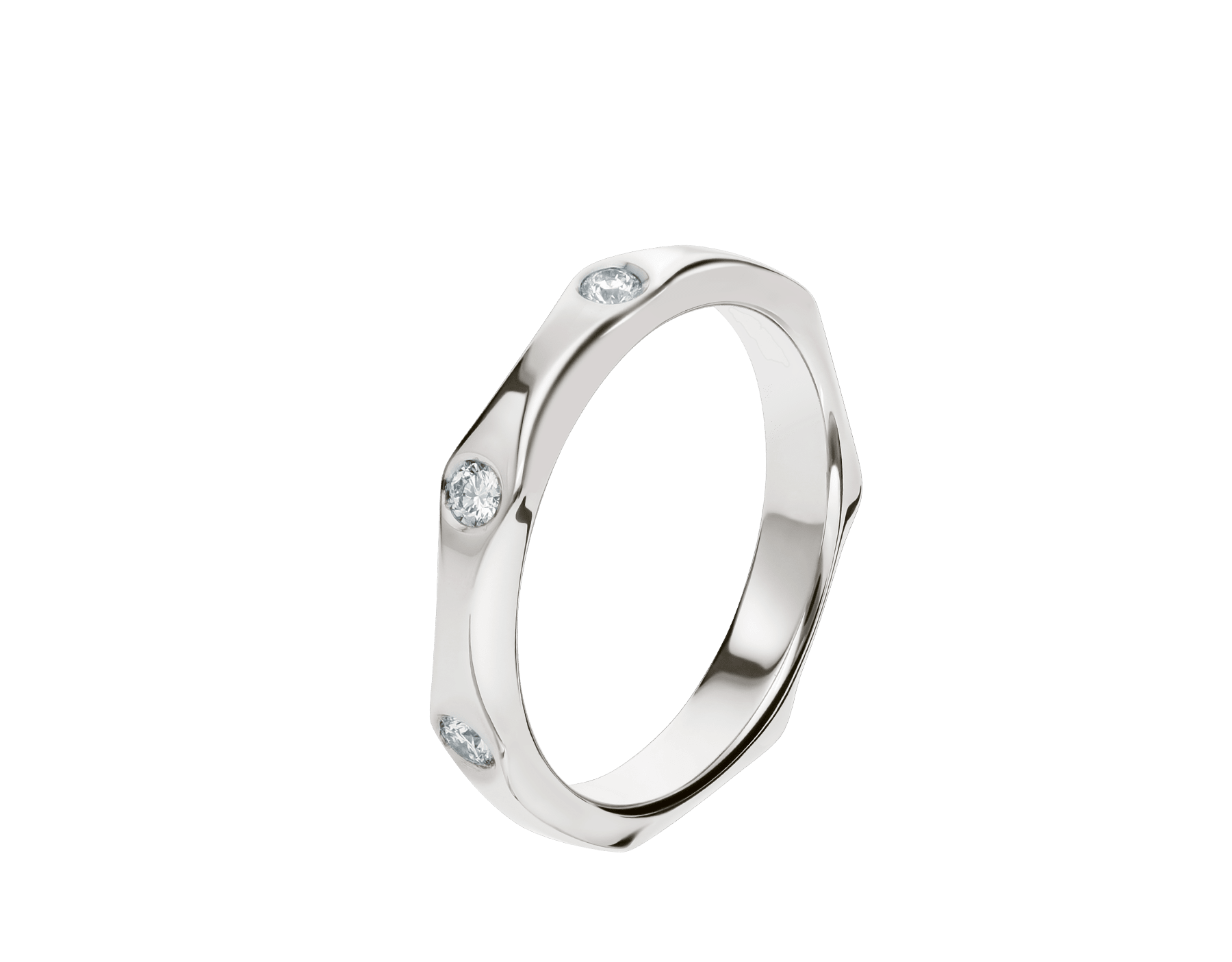 Infinito wedding band in platinum, set with three diamonds. AN857695 image 1