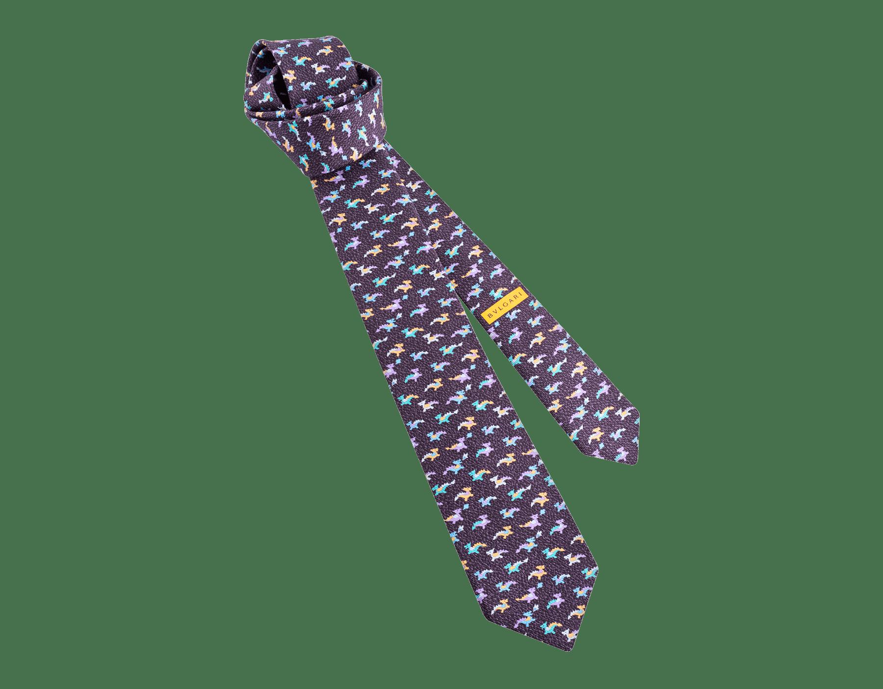 Mauve Dragonheart pattern seven-folds tie in fine saglione printed silk. 243632 image 1