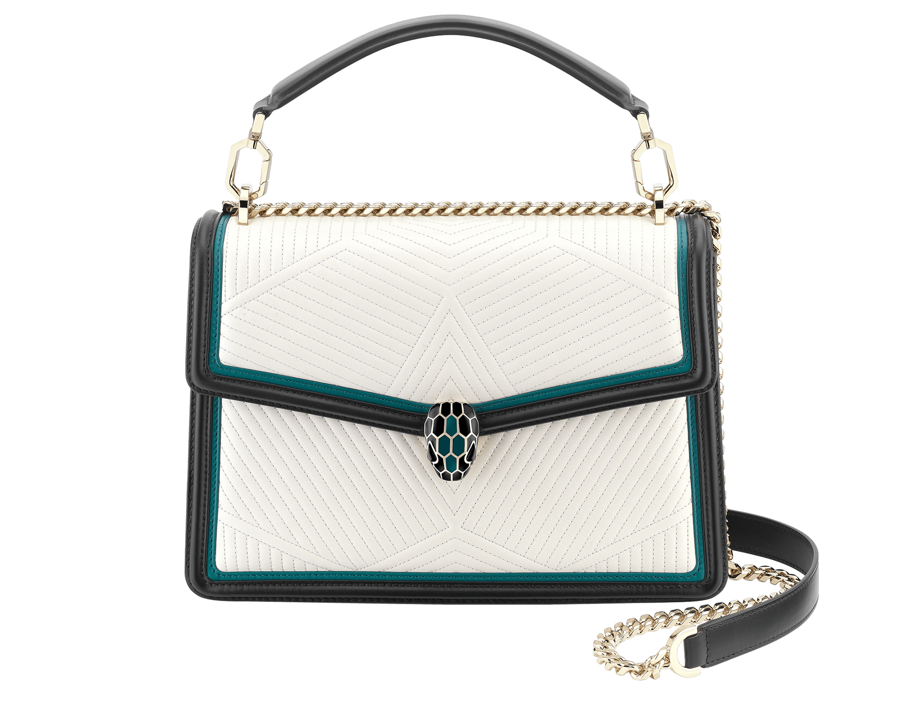 Serpenti Diamond Blast shoulder bag in white agate quilted nappa leather body and deep jade and black calf leather frames. Snakehead closure in light gold plated brass decorated with deep jade and black enamel, and black onyx eyes. 287971 image 1