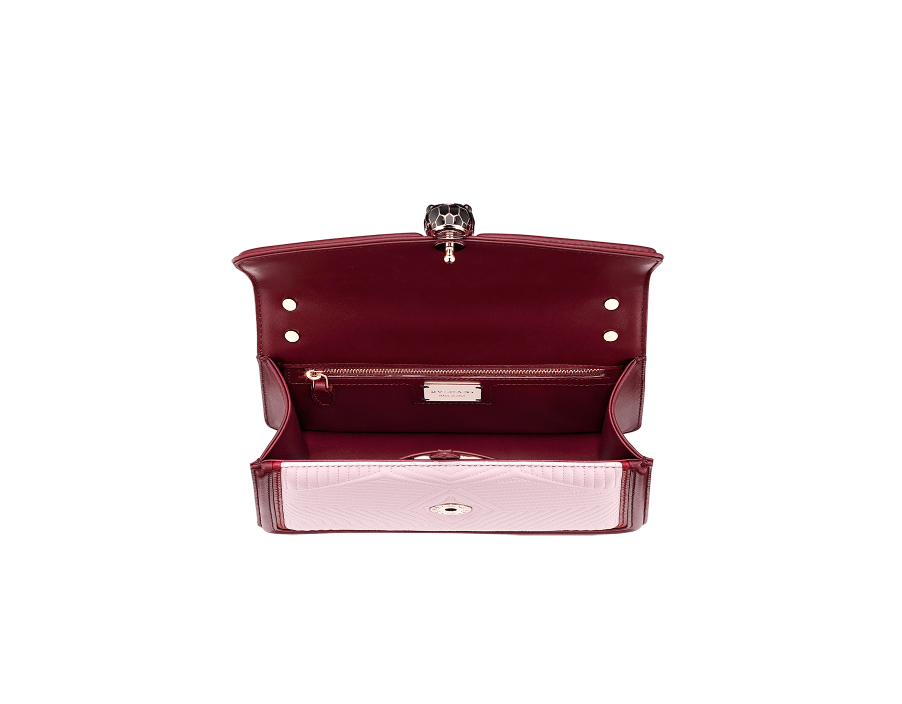 """Serpenti Diamond Blast"" shoulder bag in rosa di francia quilted calf leather and Roman garnet calf leather frames. Iconic snakehead closure in light gold plated brass enriched with black and rosa di francia enamel and black onyx eyes. 289462 image 4"