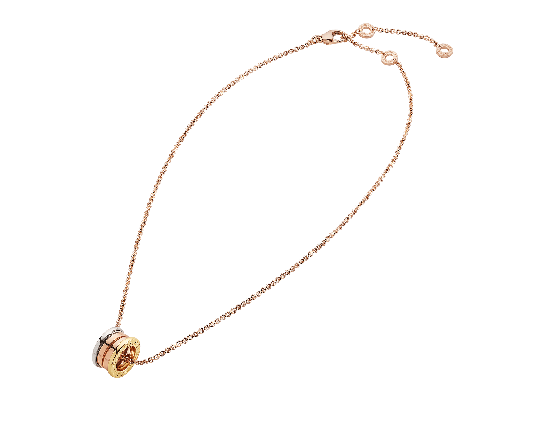 B.zero1 necklace in 18 kt rose gold with pendant in 18 kt rose, white and yellow gold. 352397 image 2