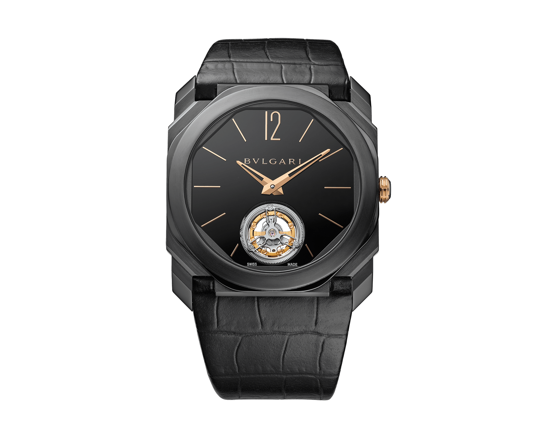Orologio Octo Finissimo Tourbillon con movimento meccanico di manifattura ultrapiatto a carica manuale con cuscinetti a sfera, cassa in titanio con trattamento DLC (Diamond-Like Carbon), quadrante laccato nero con tourbillon a vista e cinturino in alligatore nero. 102560 image 1