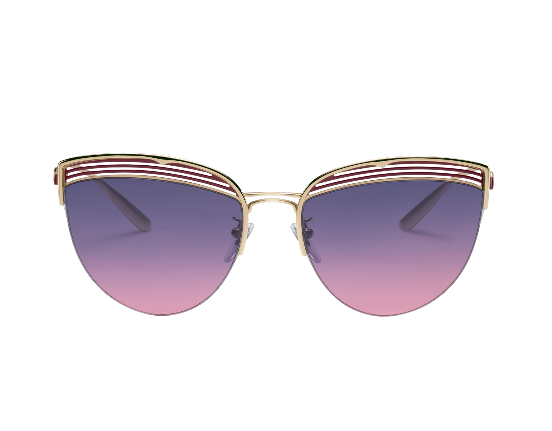Bvlgari B.zero1 B.purevibes semi-rimless cat-eye metal sunglasses. 903716 image 2