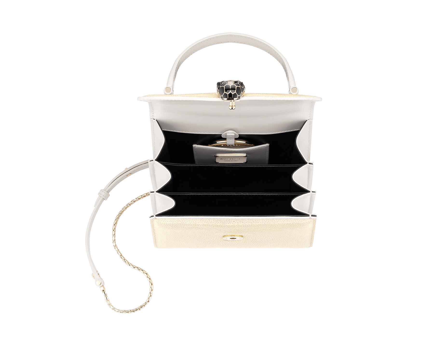 """Serpenti Forever"" crossbody bag in Milky Opal beige galuchat skin with agate-white calfskin edges and black nappa leather inner lining. Alluring snakehead closure in light gold-plated brass enriched with black and pearly, agate-white enamel and black onyx eyes. 752-CG image 2"
