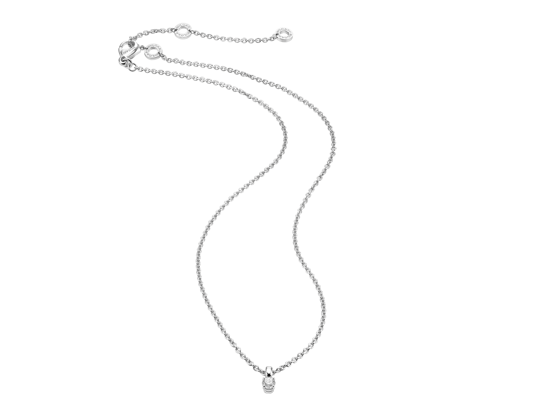 Griffe pendant with chain in 18 kt white gold with round brilliant-cut diamond. Available from 0.50 ct. A classic setting that allows the pureness and beauty of the solitaire diamond to assert itself. 338200 image 1