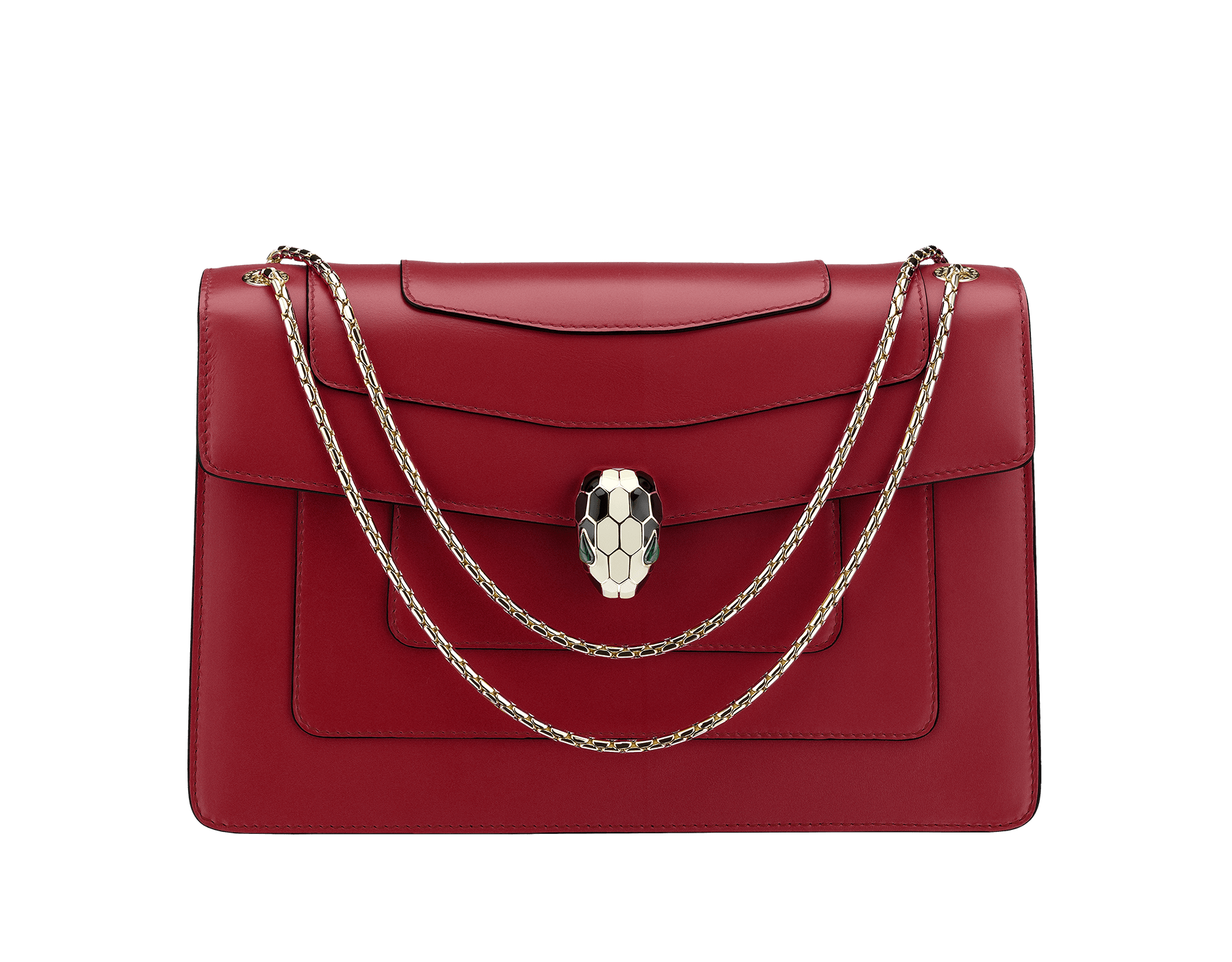 Flap cover bag Serpenti Forever in Roman garnet calf leather. Brass light gold plated snake head closure in black and white enamel with eyes in green malachite. 521-CLc image 1