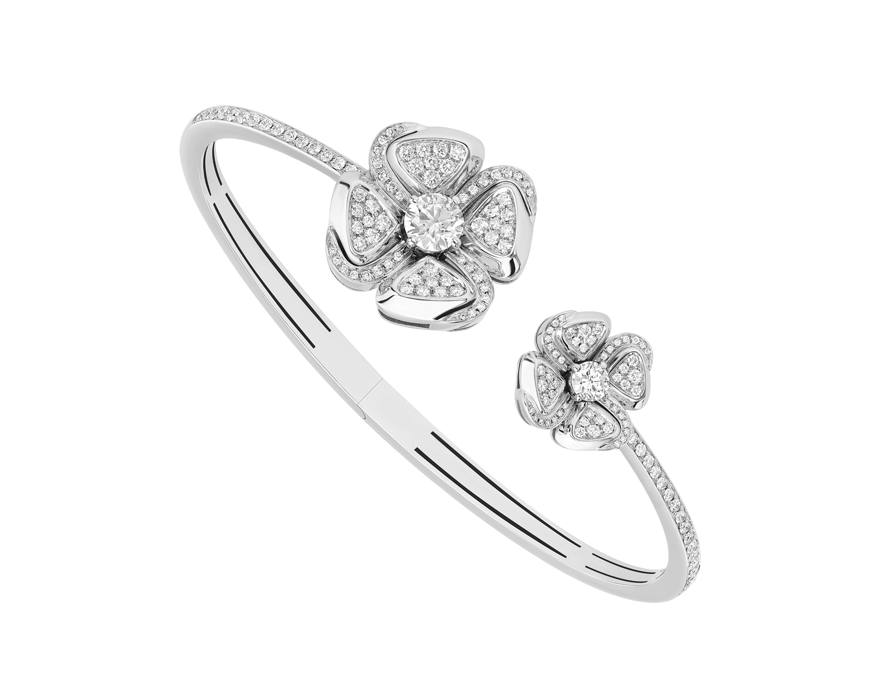 Fiorever 18 kt white gold bangle set with two central diamonds and pavé diamonds. BR858890 image 1