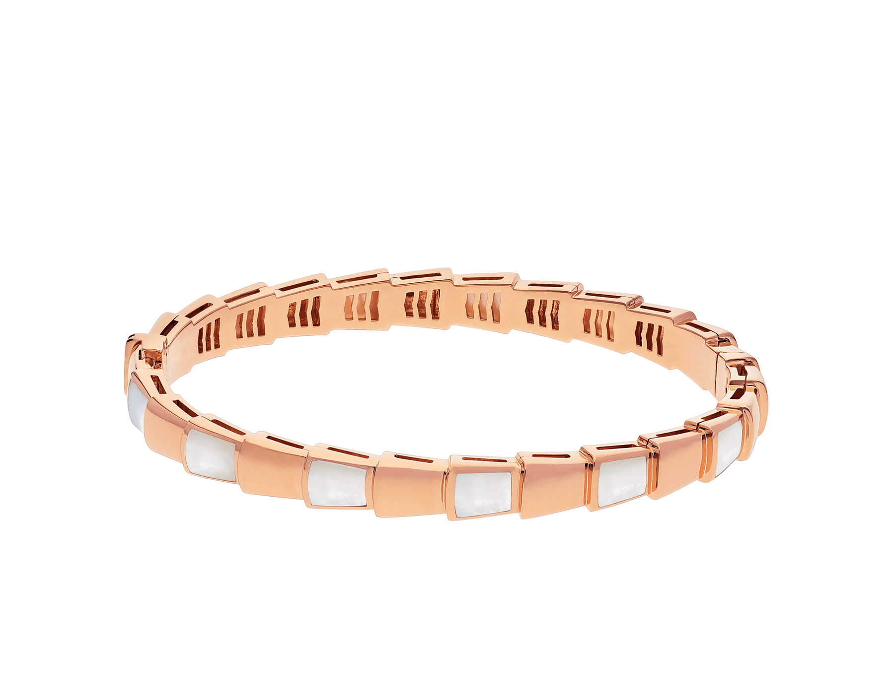 Serpenti Viper 18 kt rose gold bracelet set with mother-of-pearl elements. (height 6 mm) BR858419 image 2