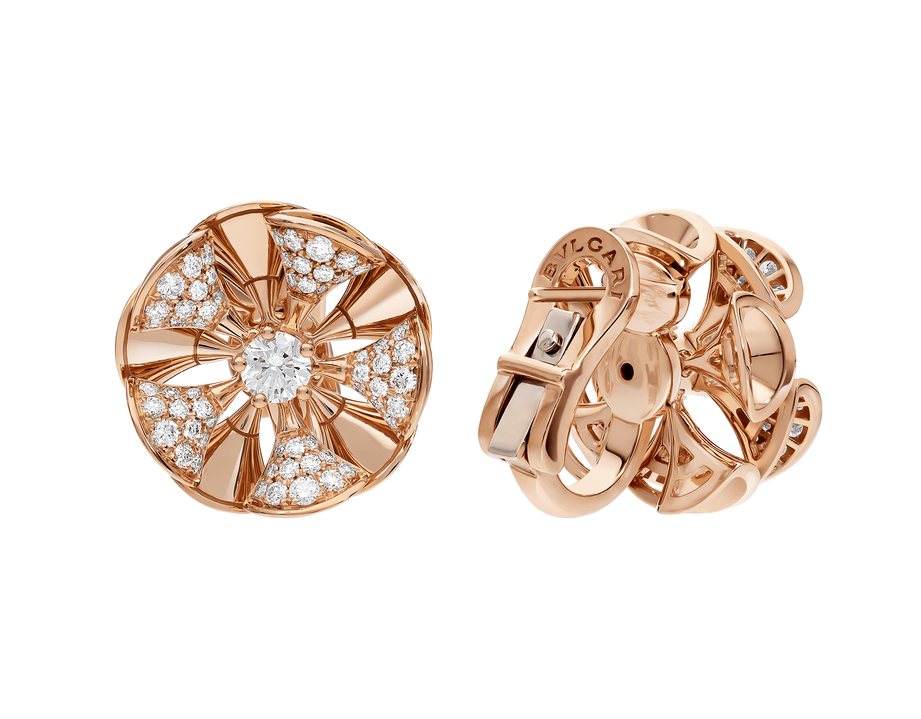 DIVAS' DREAM earrings in 18 kt rose gold set with a central diamond and pavé diamonds. 350784 image 3