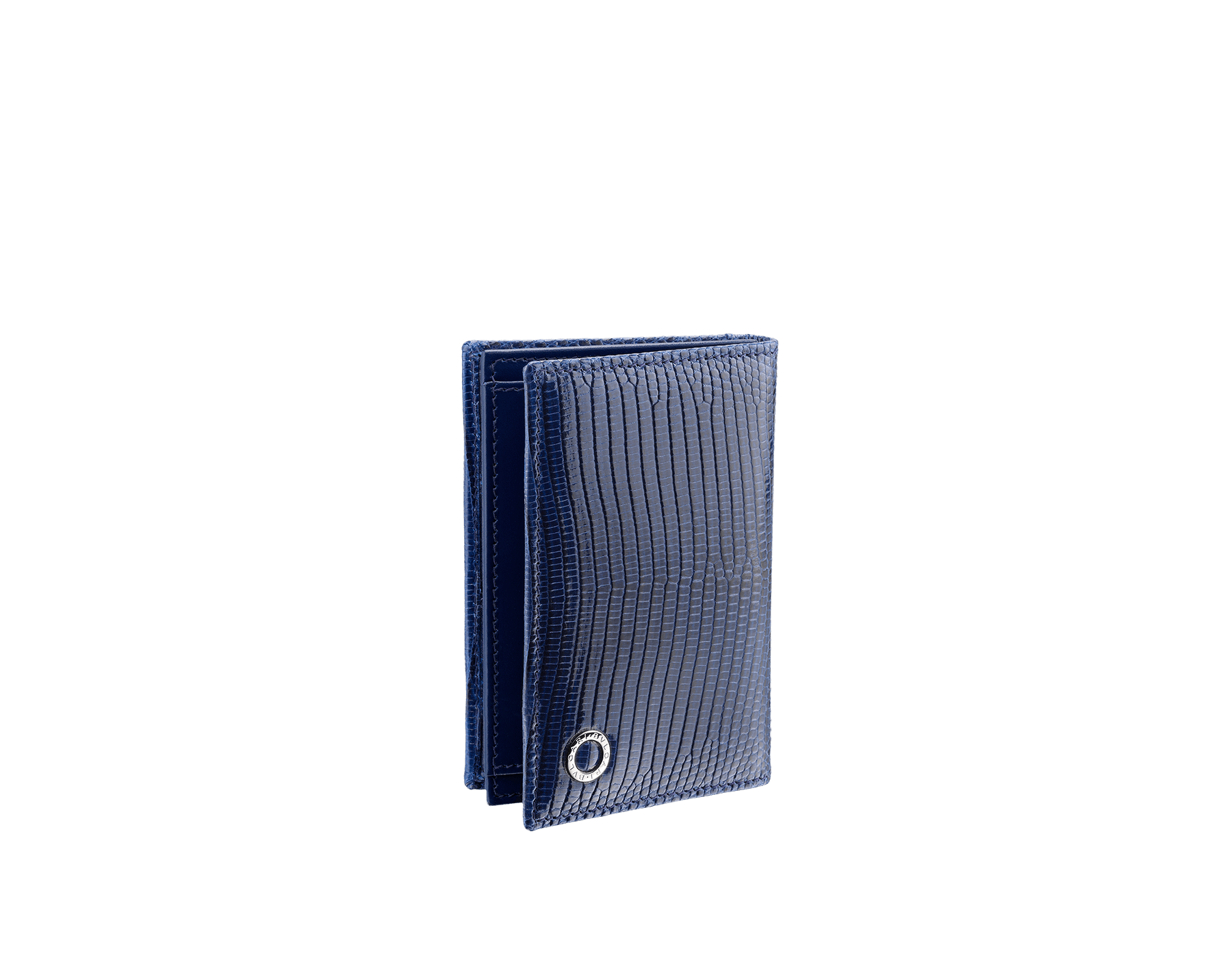Business card holder in denim sapphire shiny lizard skin and calf leather with brass palladium plated BVLGARI BVLGARI motif. Three credit card slots, one open pocket and Business cards compartment. BBM-BC-HOLD-SIMPLE-sl image 1