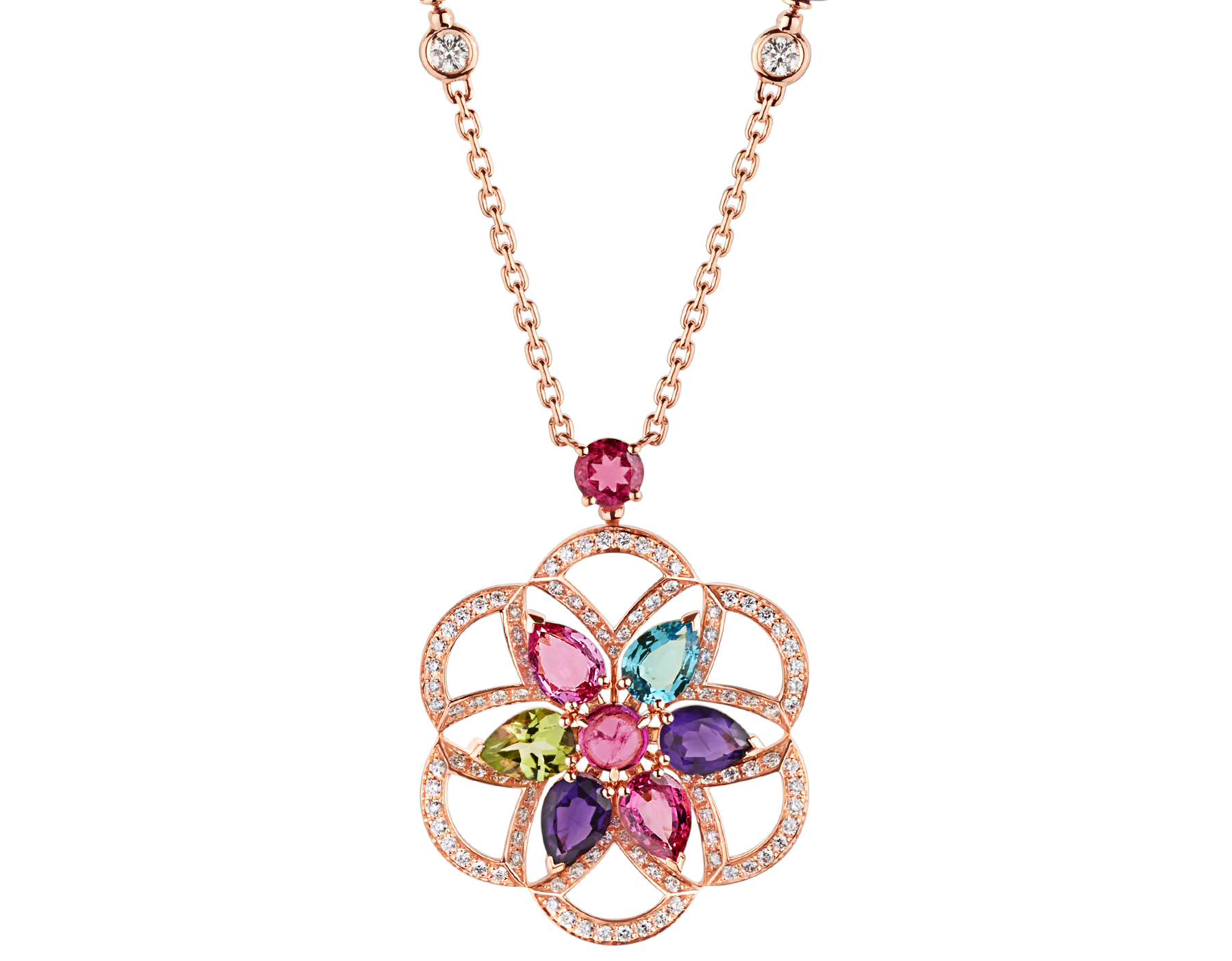 DIVAS' DREAM 18 kt rose gold necklace set with coloured gemstones and pavé diamonds 355617 image 1