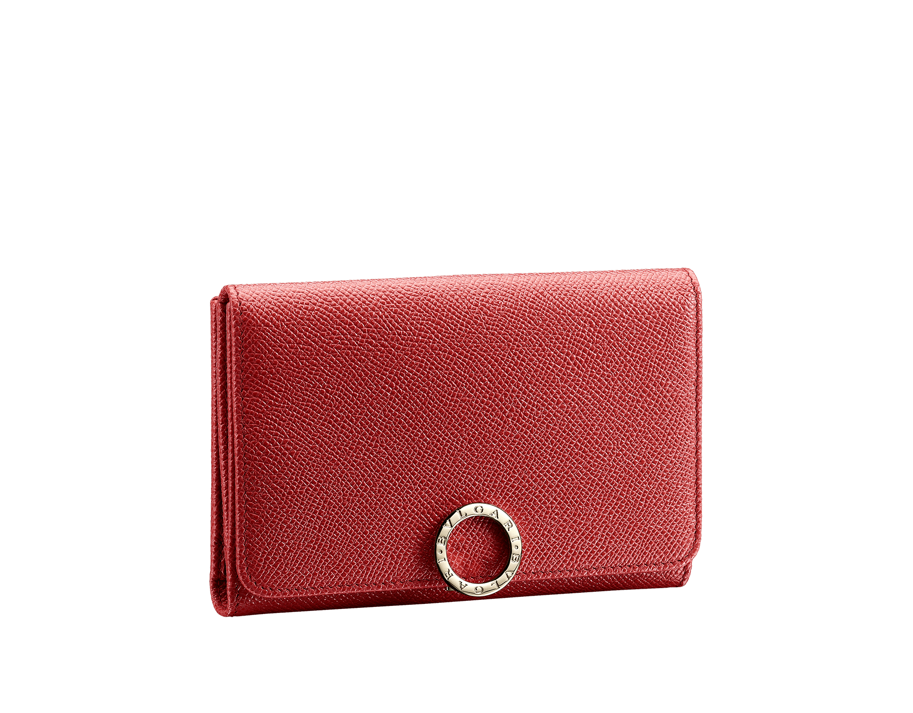 Compact pochette in ruby red bright grain calf leather, desert quartz nappa and fuxia nappa lining. Brass light gold plated hardware and iconic BVLGARI BVLGARI closure clip. 281454 image 1