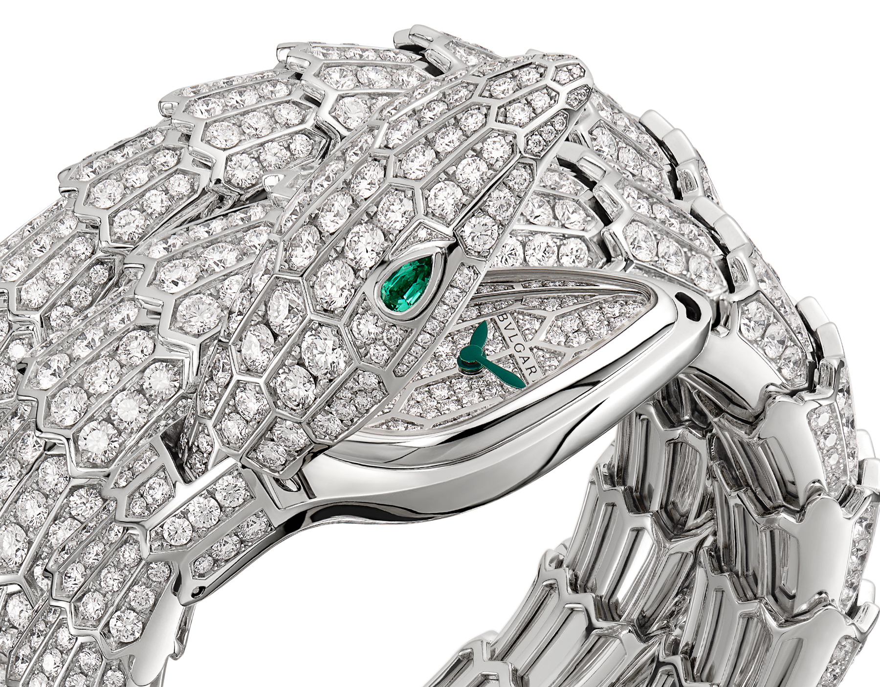 Serpenti Secret Watch with 18 kt white gold head, dial and double spiral bracelet, all set with brilliant cut diamonds, emerald eyes and 18 kt white gold case. 102701 image 2