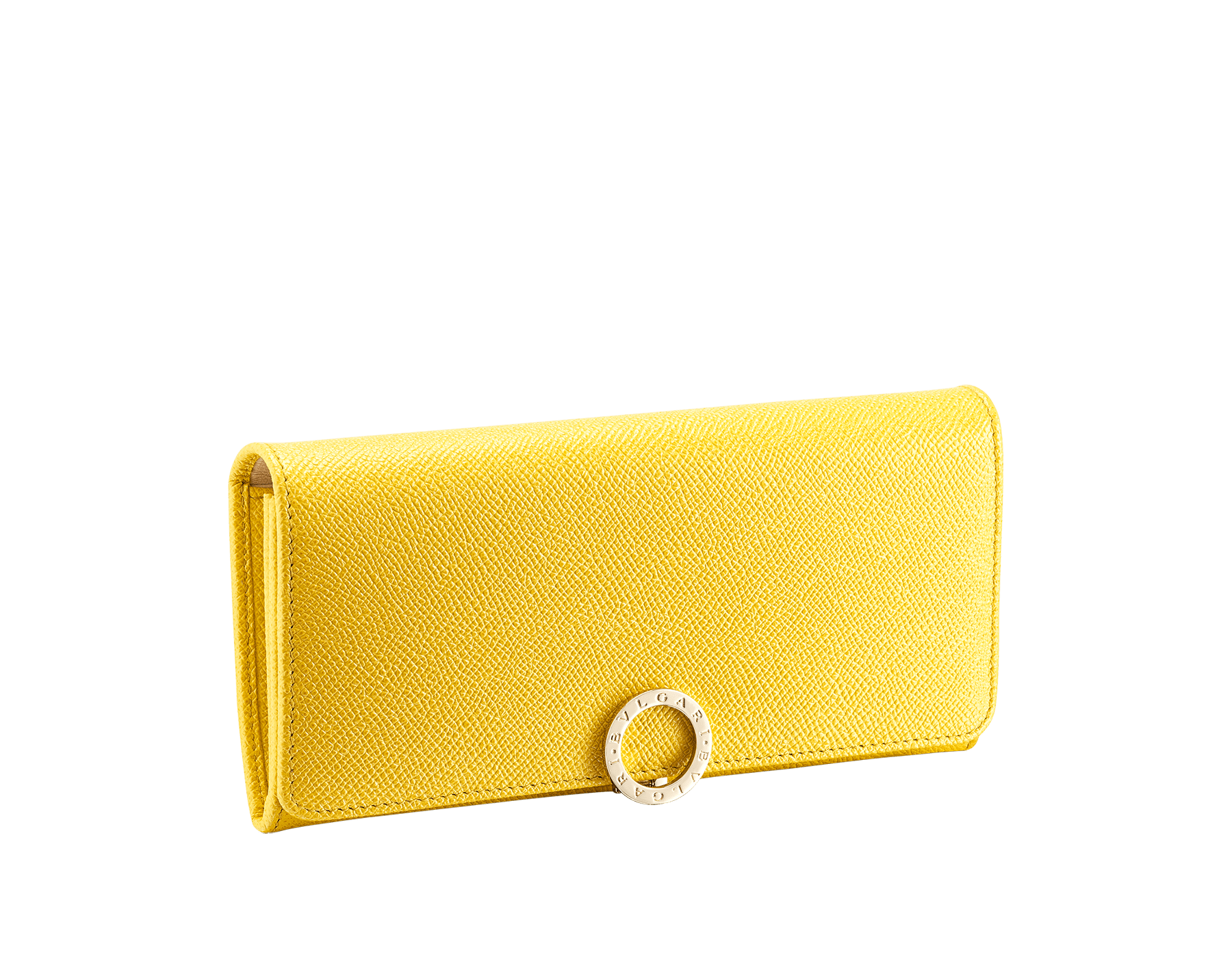"""BVLGARI BVLGARI"" large wallet in taffy quartz bright grain calf leather and berry tourmaline nappa leather. Iconic logo clip closure in light gold plated brass. 579-WLT-SLI-POC-CLb image 1"