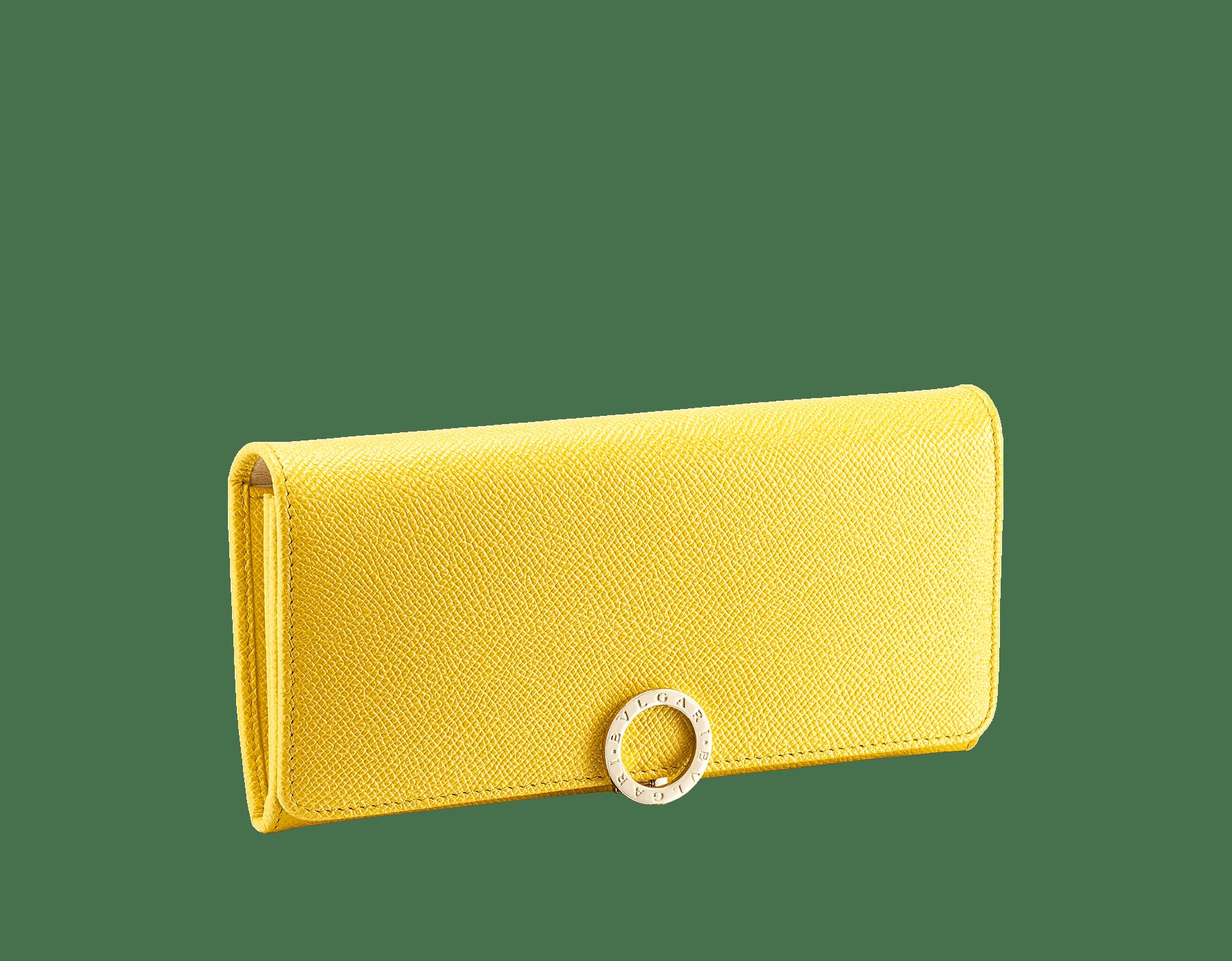 Großes BVLGARI BVLGARI Portemonnaie aus genarbtem Kalbsleder in Taffy Quartz und turmalinfarbenem Nappaleder. Ikonische Verschlussklammer mit Logo aus hell vergoldetem Messing. 579-WLT-SLI-POC-CLb image 1