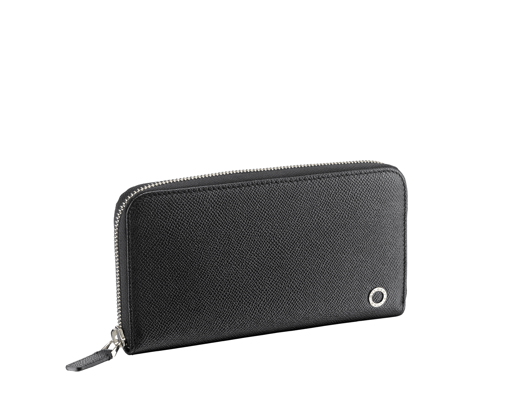 BVLGARI BVLGARI man zipped wallet in black and cobalt tourmaline grain calf leather and black nappa lining. Iconic logo décor in palladium plated brass. 288251 image 1