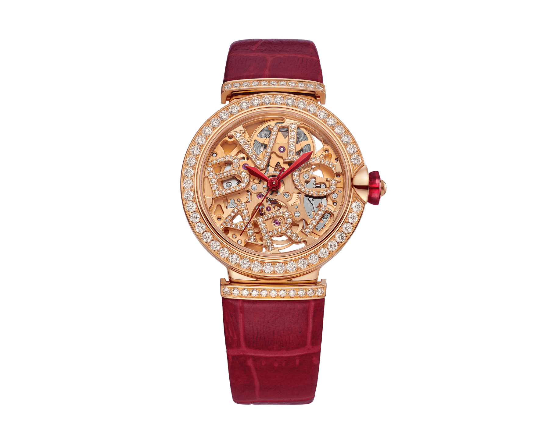LVCEA Skeleton watch with mechanical manufacture movement, automatic winding, 18 kt rose gold case set with diamonds, openwork BVLGARI logo dial set with diamonds and red alligator bracelet 102833 image 1