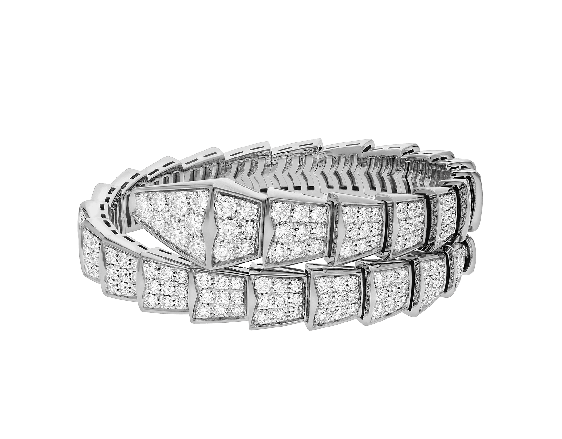 Serpenti Viper one-coil bracelet in 18 kt white gold, set with full pavé diamonds. BR855231 image 2