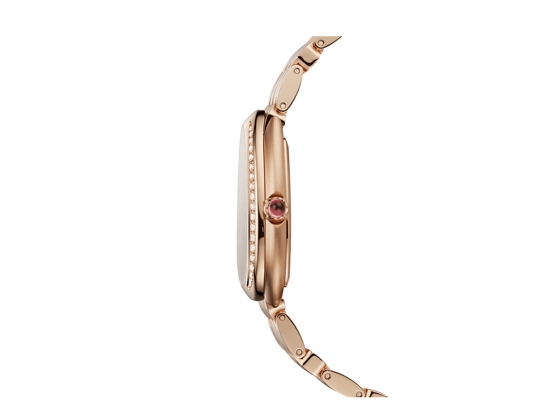 Serpenti Seduttori watch with 18 kt rose gold case, 18 kt rose gold bezel set with diamonds, white silver opaline dial and brushed 18 kt rose gold bracelet. 103169 image 3