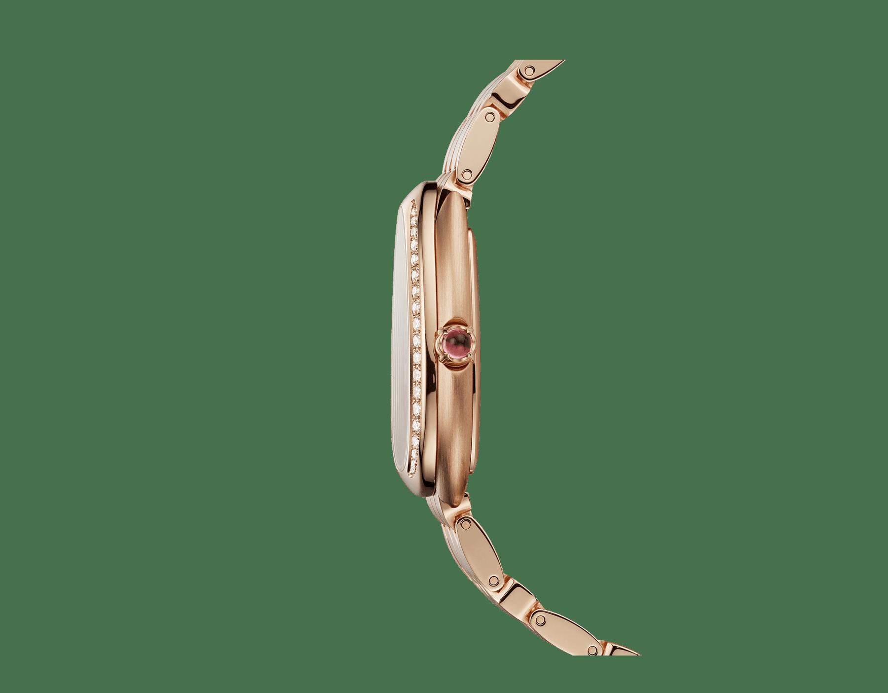 Serpenti Seduttori 腕錶,18K 玫瑰金錶殼和錶圈鑲飾鑽石,銀白色蛋白石錶盤,18K 玫瑰金髮絲紋錶帶。 103169 image 3