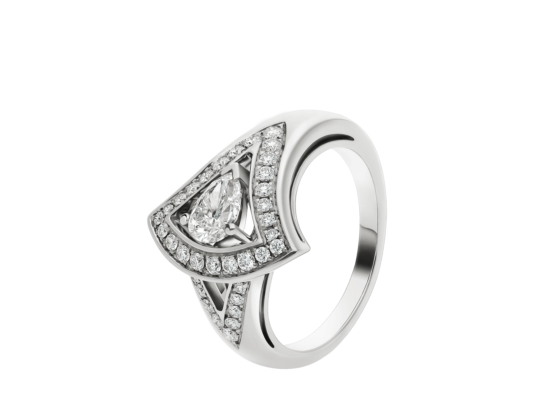 DIVAS' DREAM openwork 18 kt white gold ring set with a central pear-cut diamond (0.40 ct) and pavé diamonds (0.25 ct) AN858342 image 1