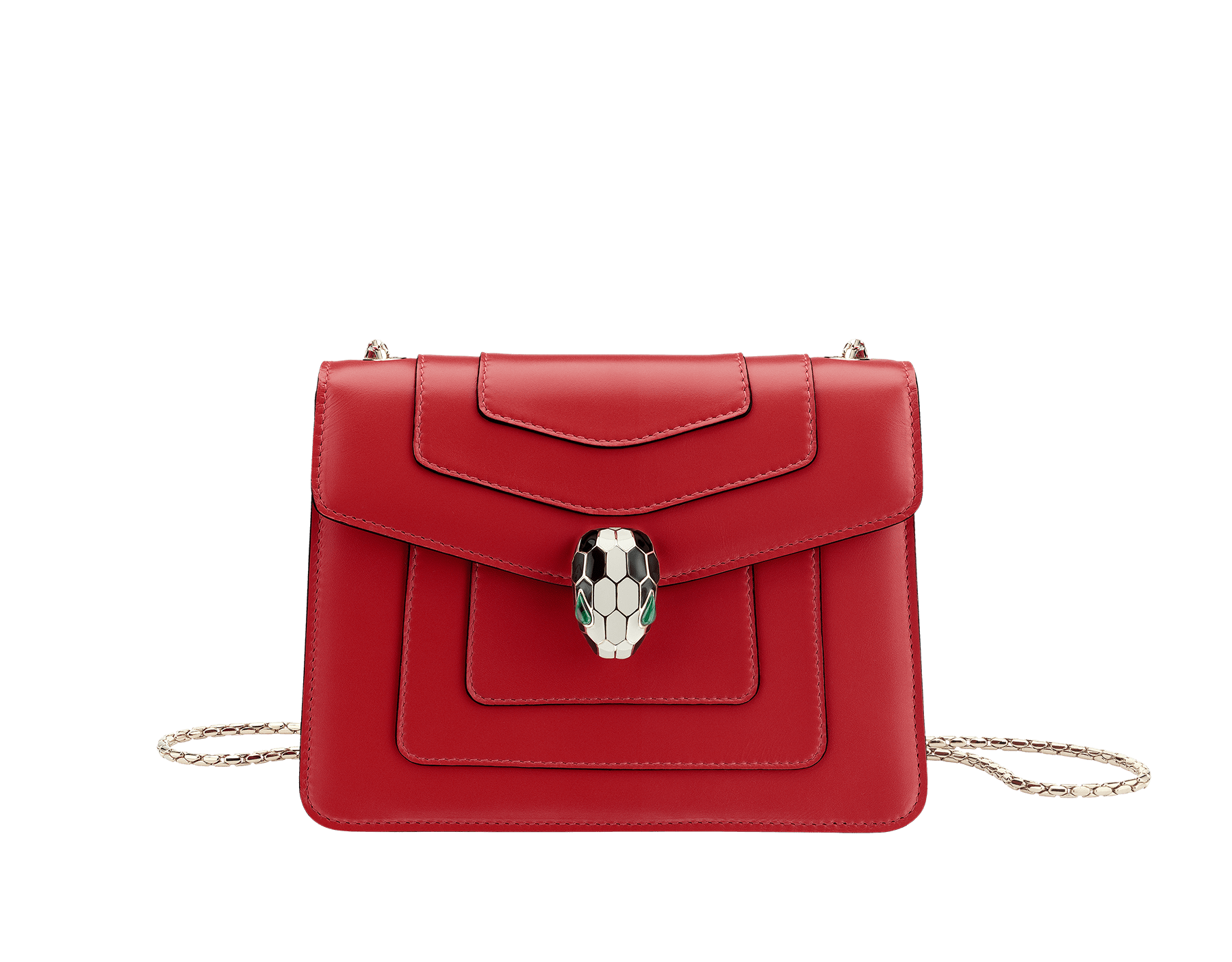 Flap cover bag Serpenti Forever in ruby red calf leather. Brass light gold plated snake head closure in black and white enamel with eyes in green malachite. 280159 image 1