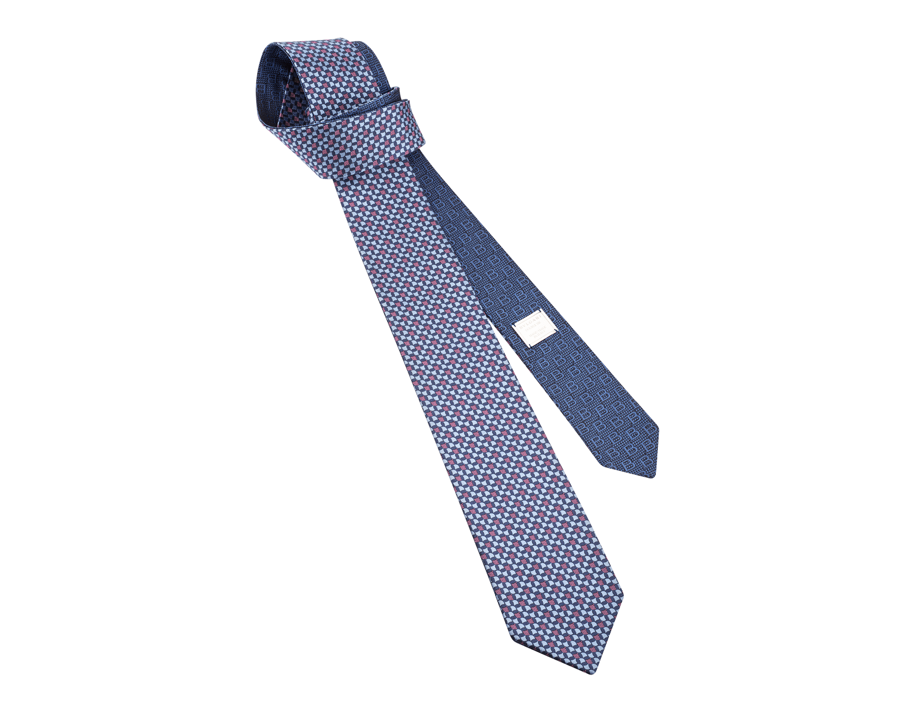 ブルーのダブル ビー・ディーヴァ ネクタイ。上質なジャカードシルク製。 244439 image 1