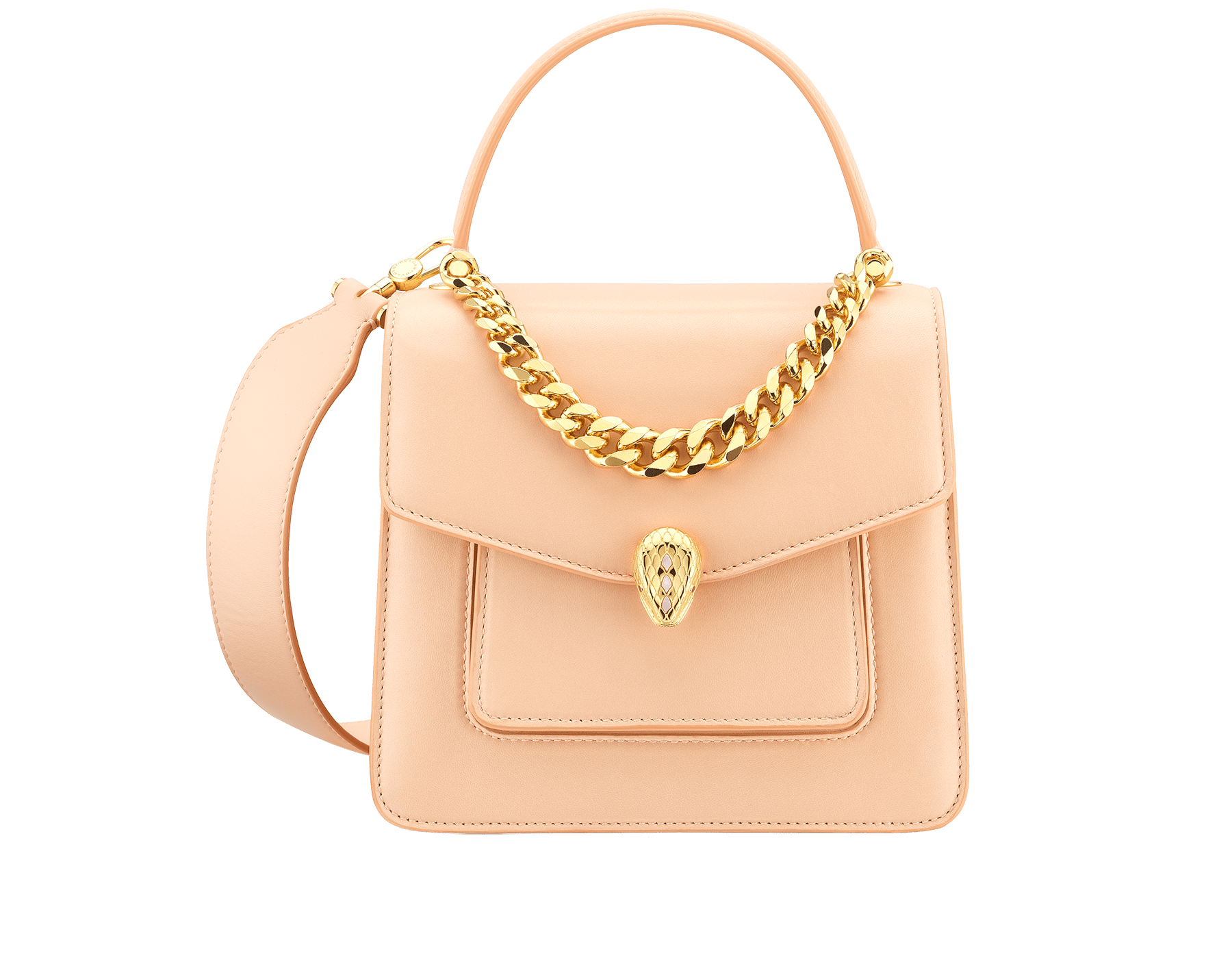 """""""Serpenti Forever"""" small maxi chain top handle bag in peach nappa leather, with Lavender Amethyst lilac nappa leather inner lining. New Serpenti head closure in gold-plated brass, finished with small pink mother-of-pearl scales in the middle and red enamel eyes. 1133-MCN image 1"""