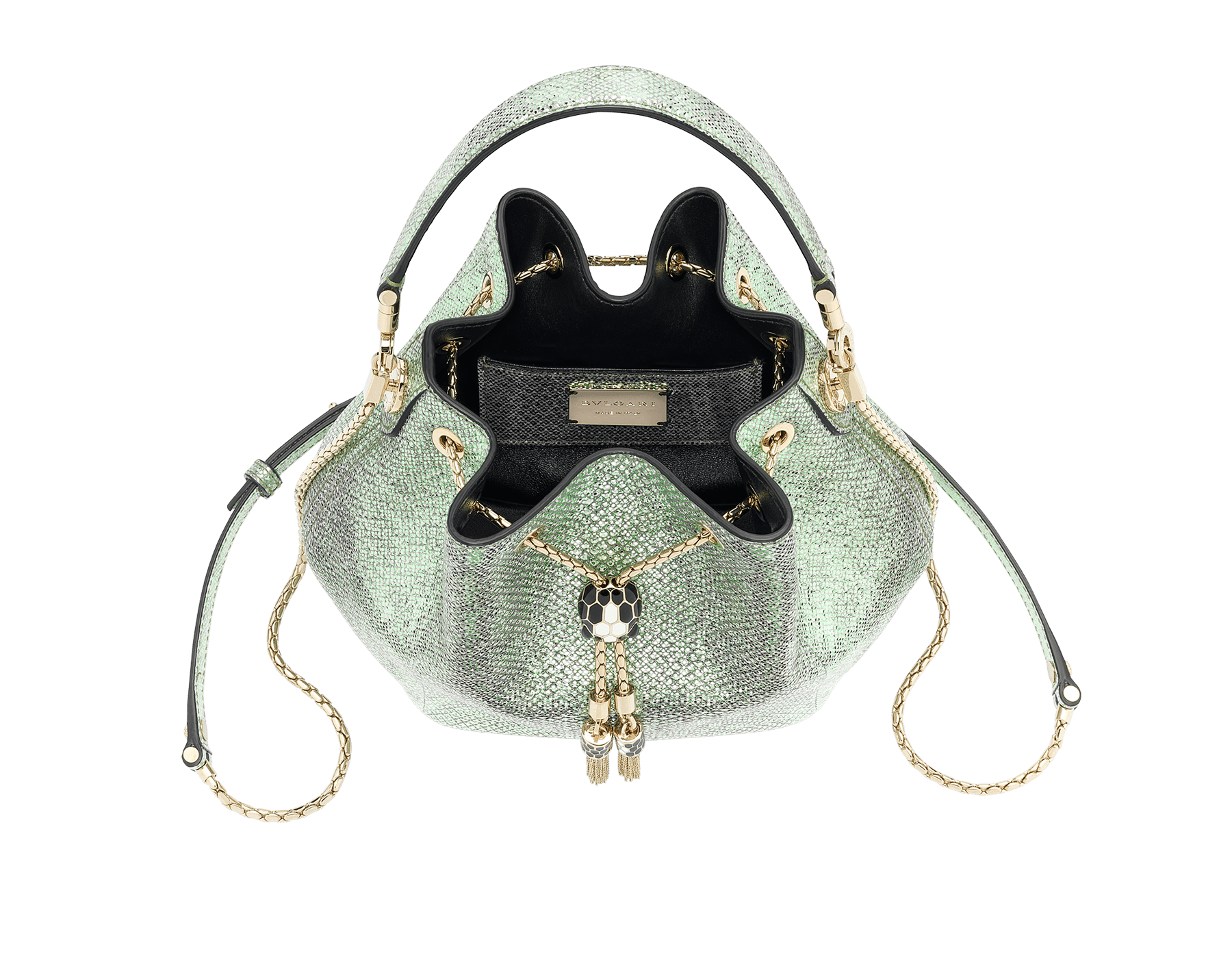 """Serpenti Forever"" bucket in mint metallic karung skin and black nappa internal lining. Hardware in light gold plated brass and snakehead closure in black and white agate enamel, with eyes in black onyx. 934-MK image 4"