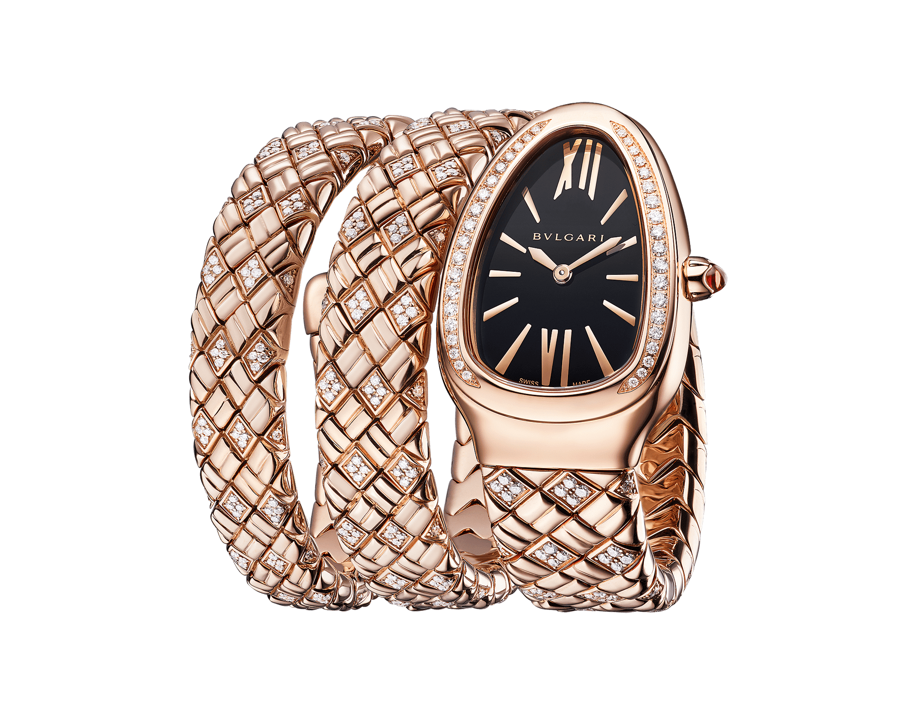 Serpenti Spiga double-spiral watch with 18 kt rose gold case and bracelet set with diamonds, and black dial 103252 image 2