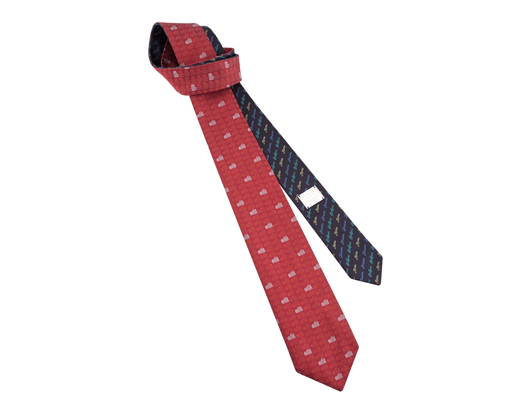 Cravatta rossa con motivo Double Roma in seta pregiata. 243731 image 1