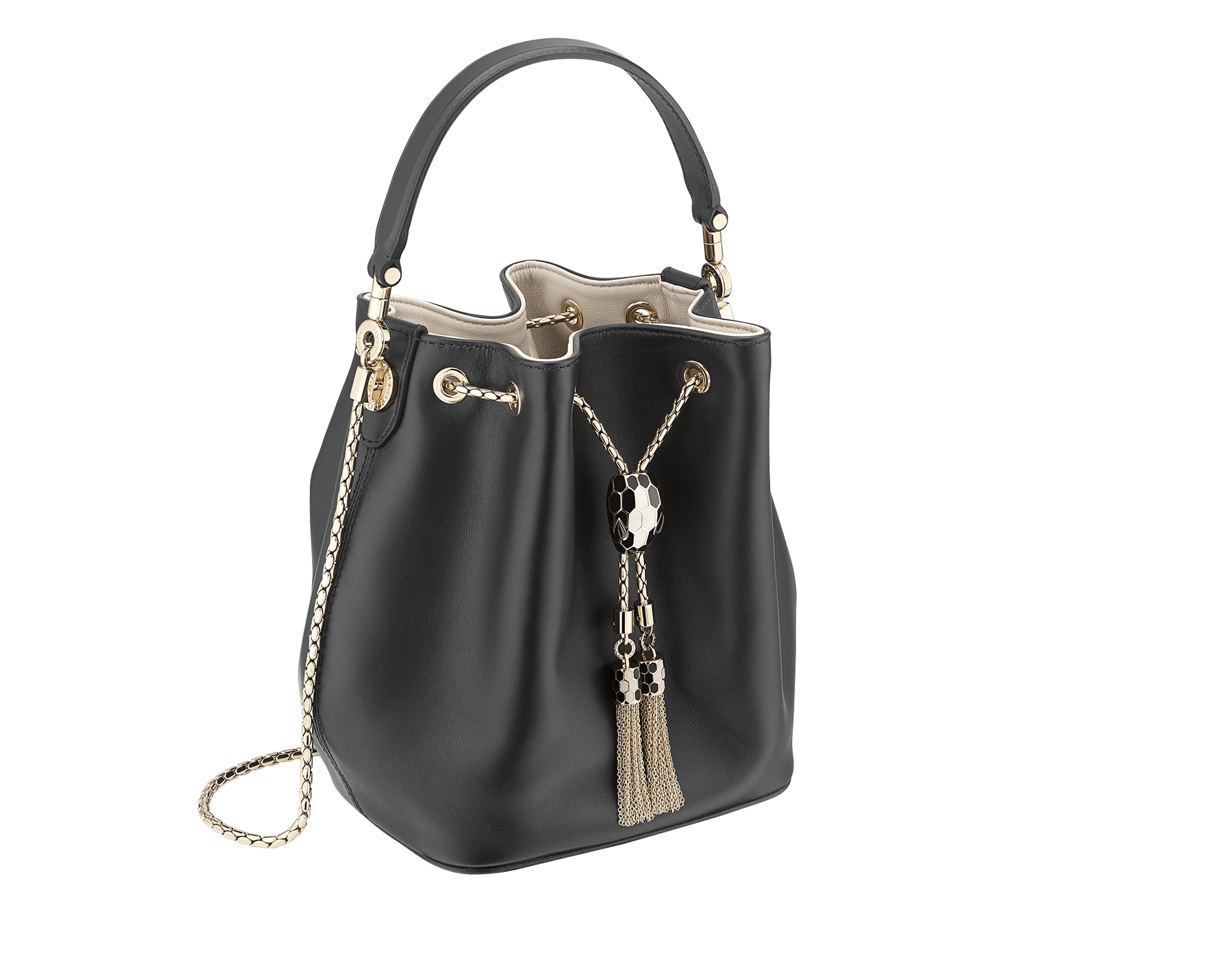 Bucket Serpenti Forever in black smooth calf leather and milky opal nappa internal lining. Hardware in light gold plated brass and snakehead closure in black and white enamel, with eyes in black onyx. 934-CLb image 2