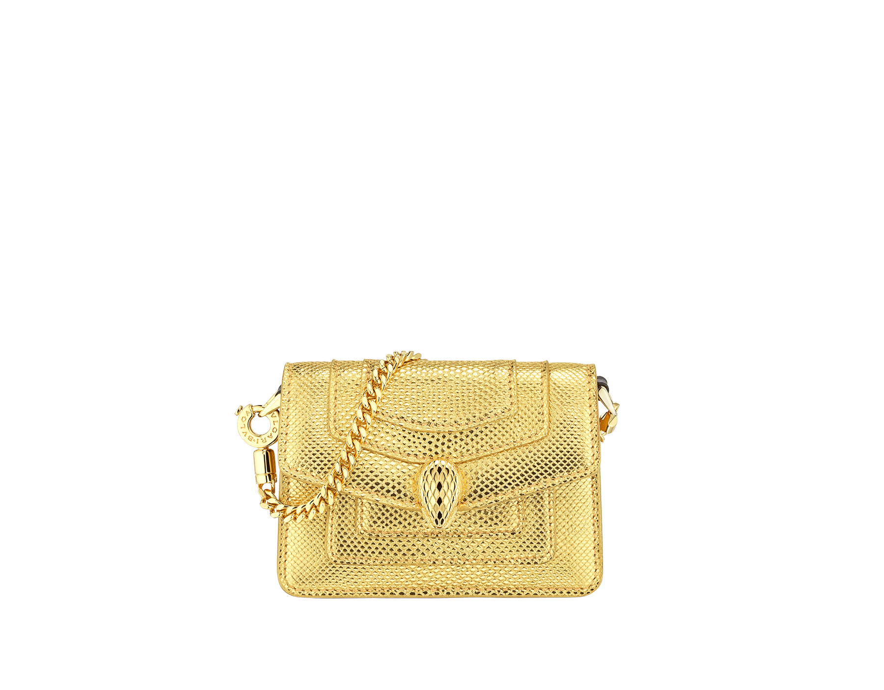 """Serpenti Forever"" mini bag in ""Molten"" gold karung skin and black calfskin, offering a touch of radiance for the Winter Holidays. New Serpenti head closure in gold-plated brass, complete with ruby-red enamel eyes. 290631 image 1"